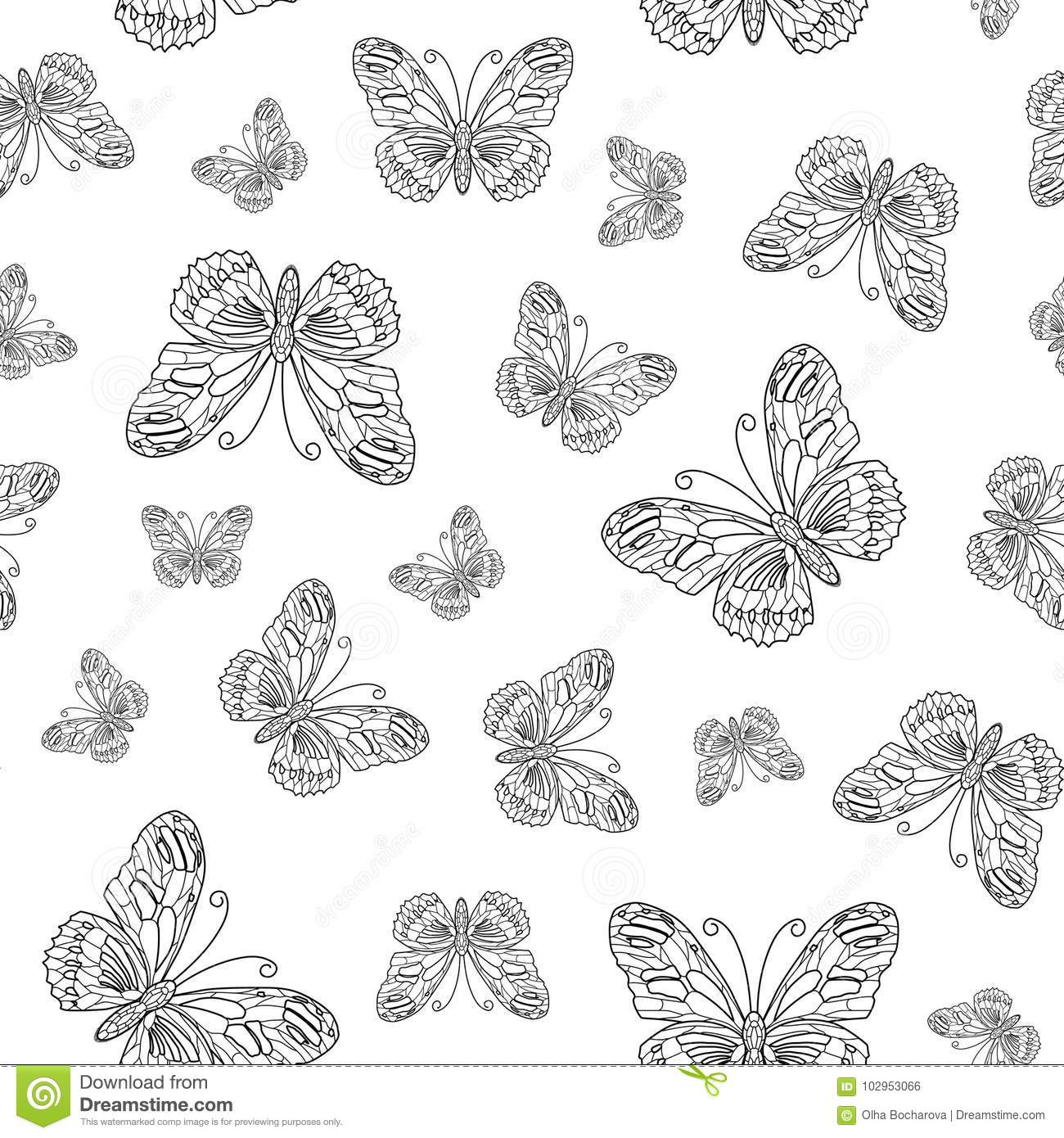 Coloring Page Royalty Free Vector Download Seamless Pattern From Butterfly