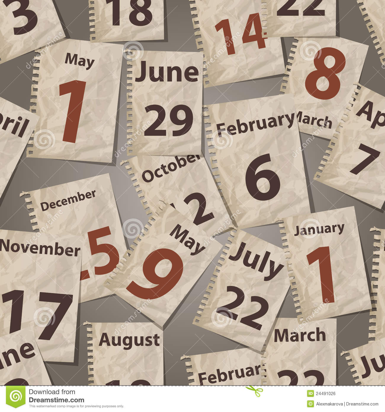 Vector Seamless Pattern With Calendar Sheets Royalty Free Stock ...