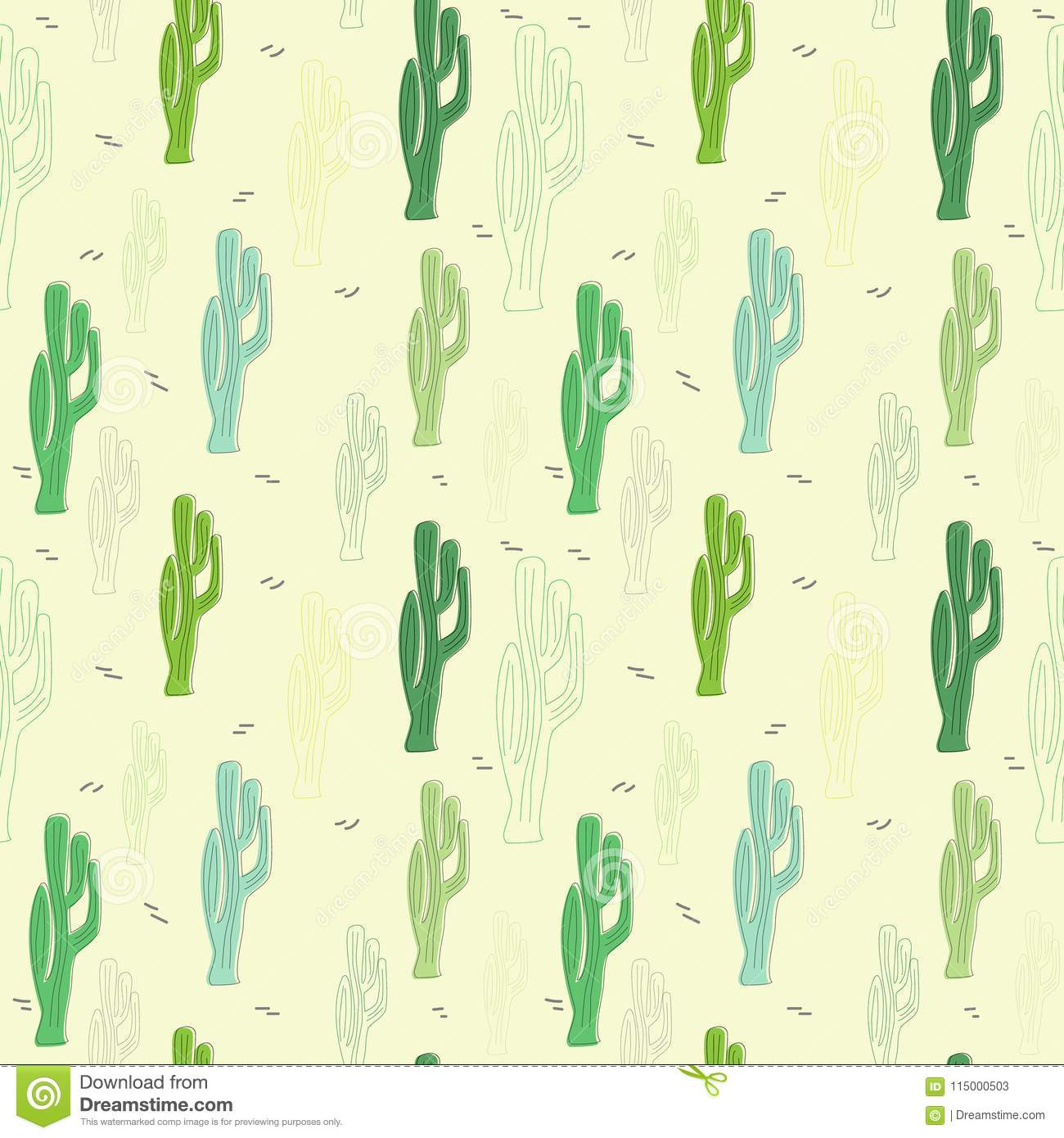 vector seamless pattern with cartoon cactus the template for the