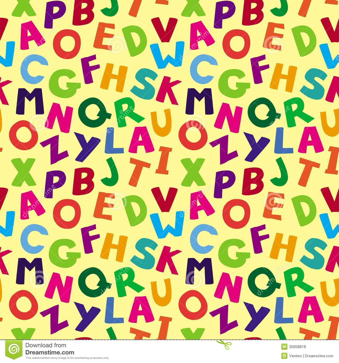 Vector Seamless Pattern With Cartoon Letters Royalty Free Stock Photos ...