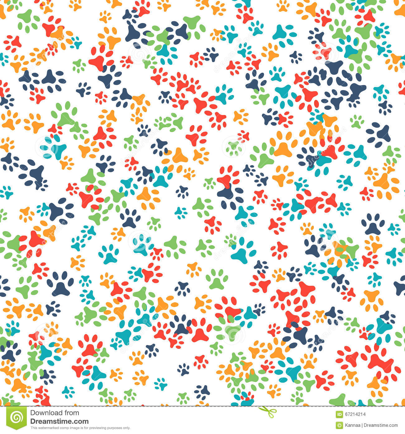 Vector Seamless Pattern With Cat Or Dog Footprints Stock