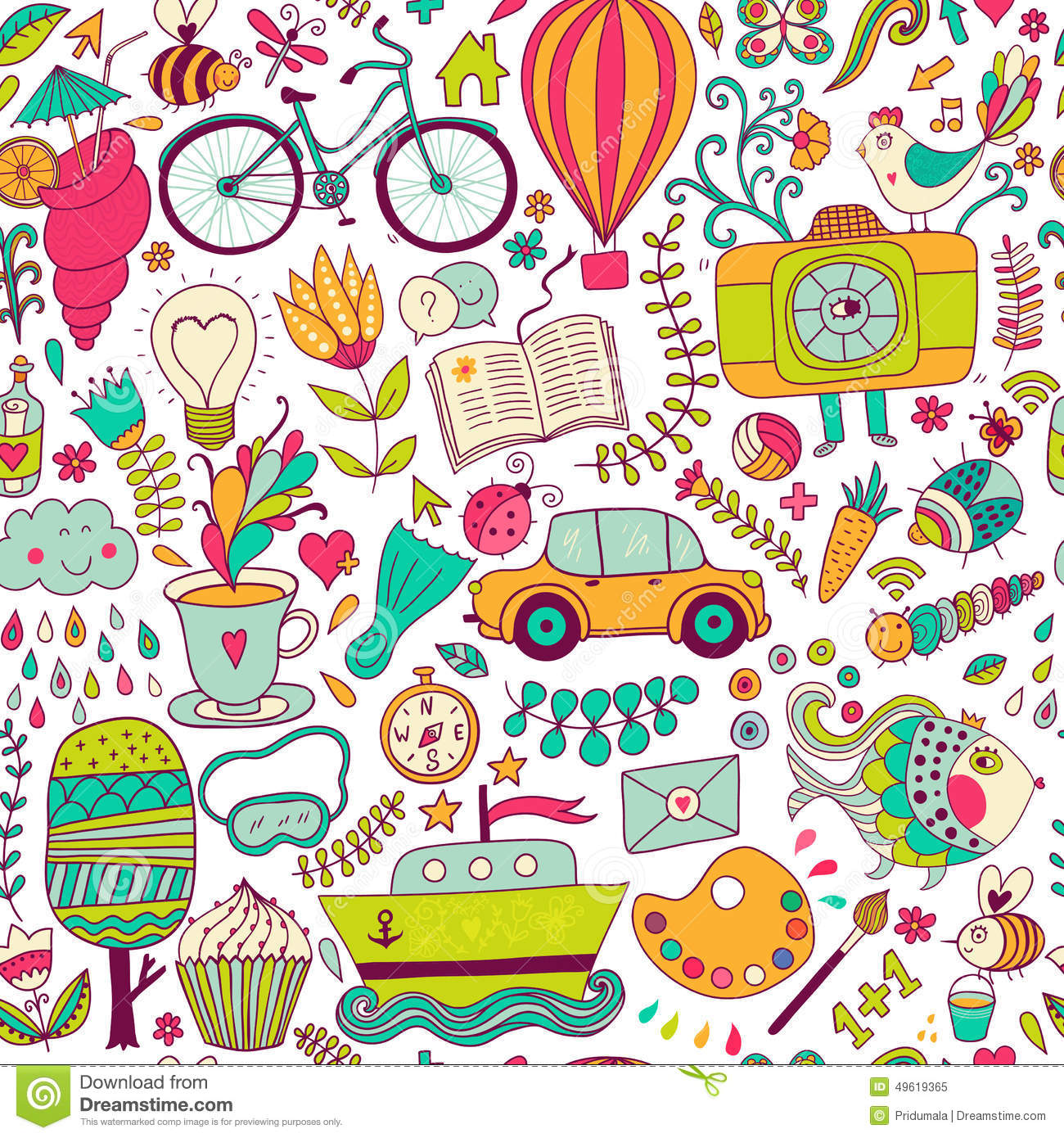 Vector seamless pattern, childish doodles. Pattern ,set of different school, travel, romantic things. Enjoy life concept. Use for