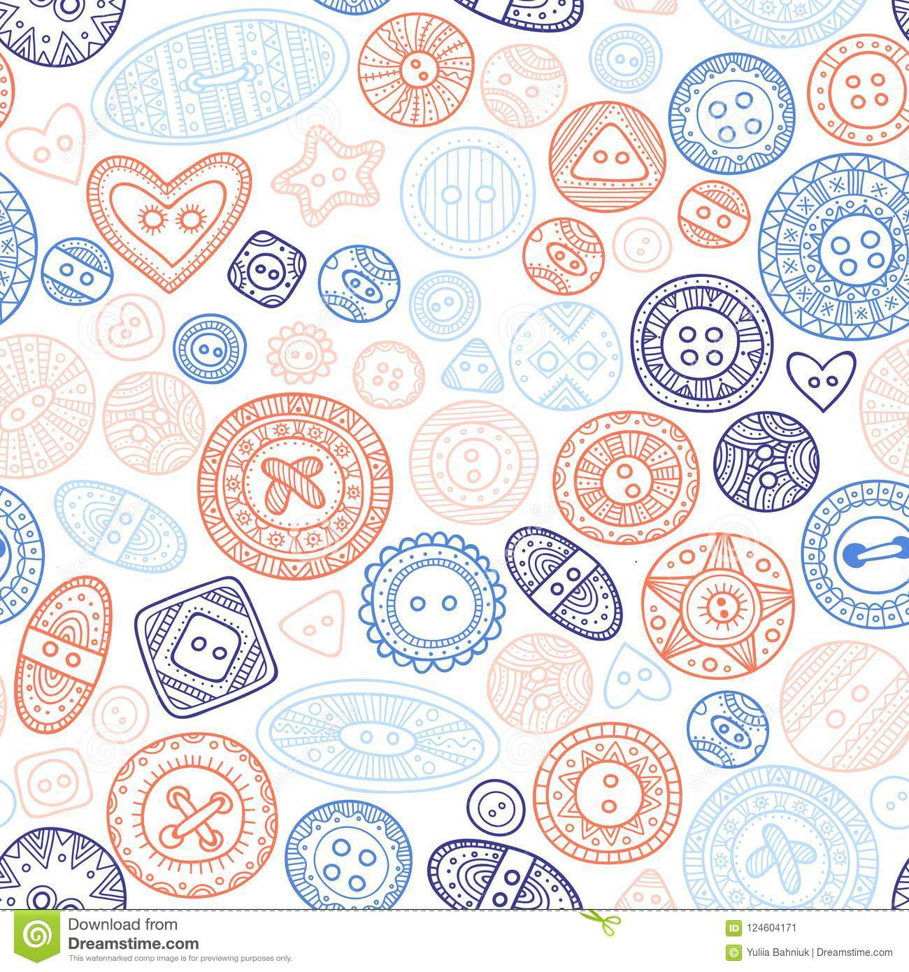 Vector Seamless Pattern With Cloth Buttons In Boho Style Stock ...