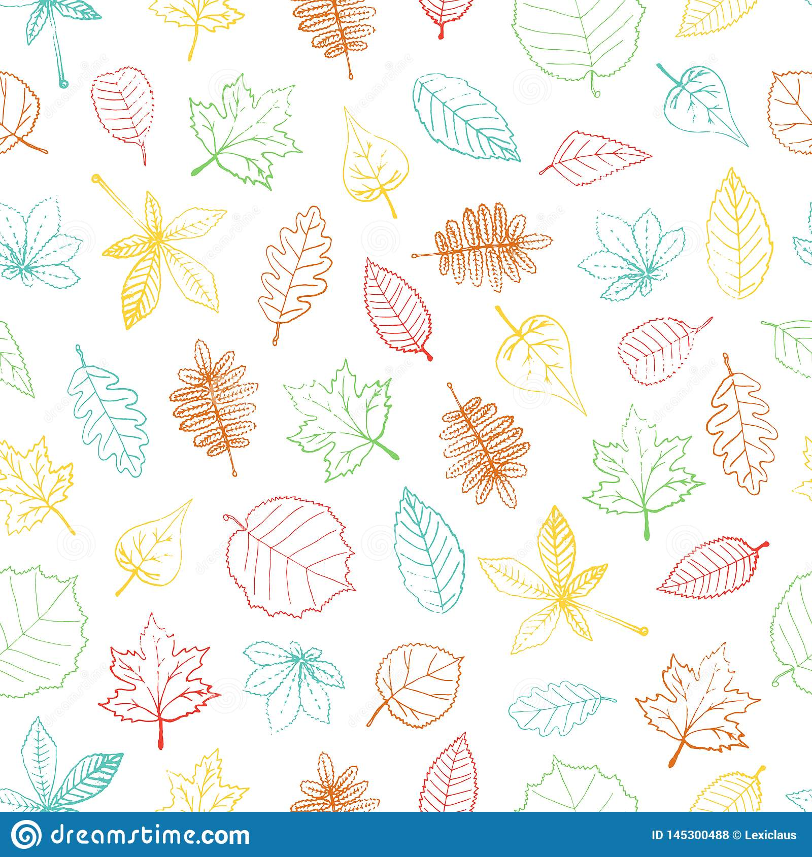 Vector seamless pattern of colored hand drawn textured leaf