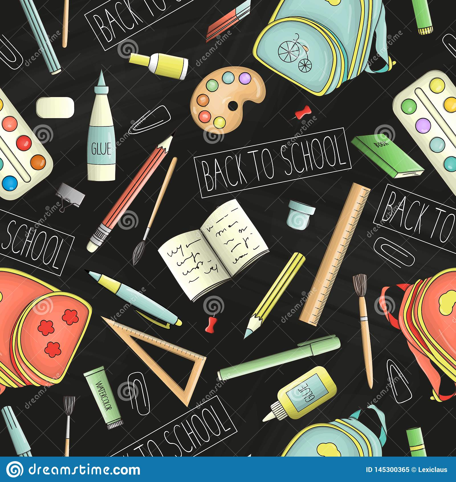 Vector seamless pattern of colored stationery, office or school supplies on chalkboard background. Back to school repeat backdrop