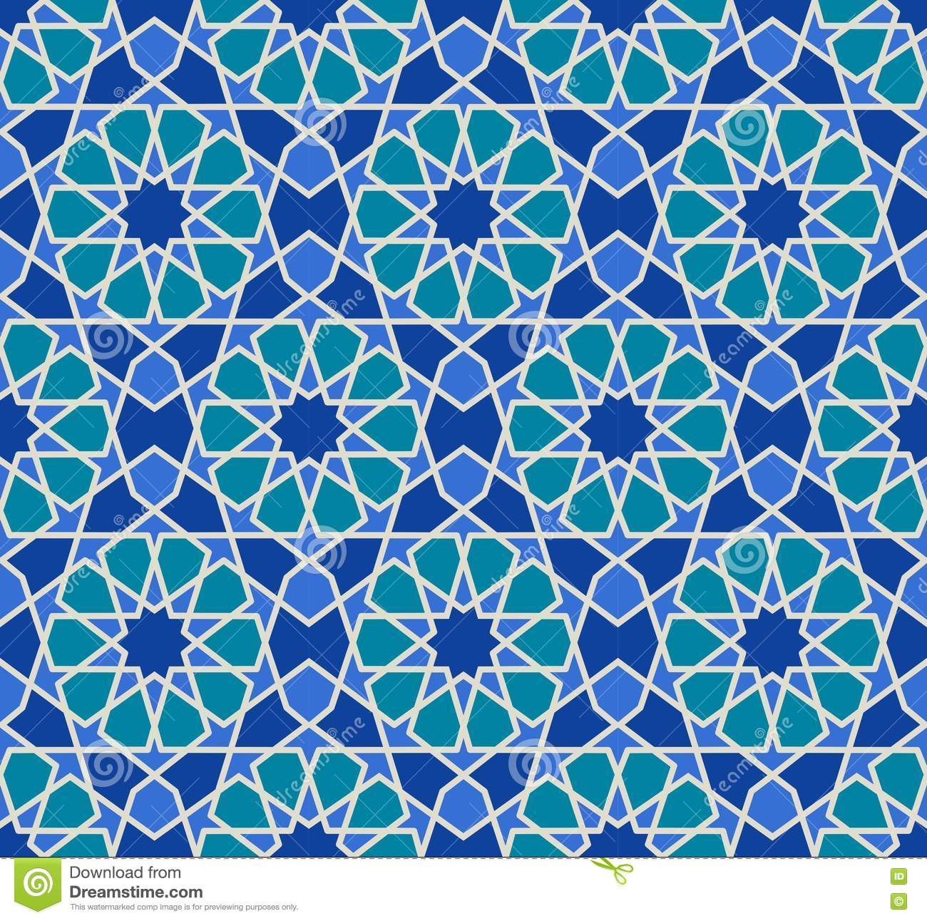 Vector seamless pattern colorful ethnic ornament for Arabesque style decoration