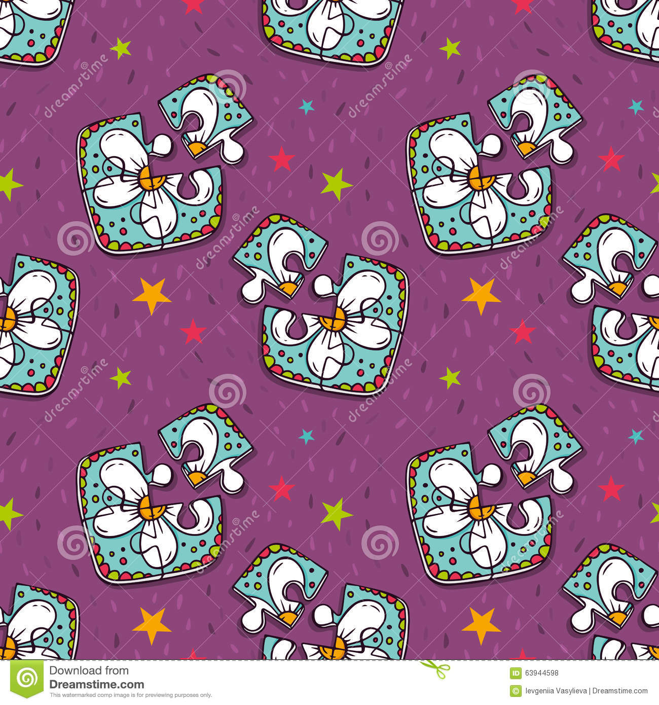 vector seamless pattern with colorful jigsaw puzzles stock vector