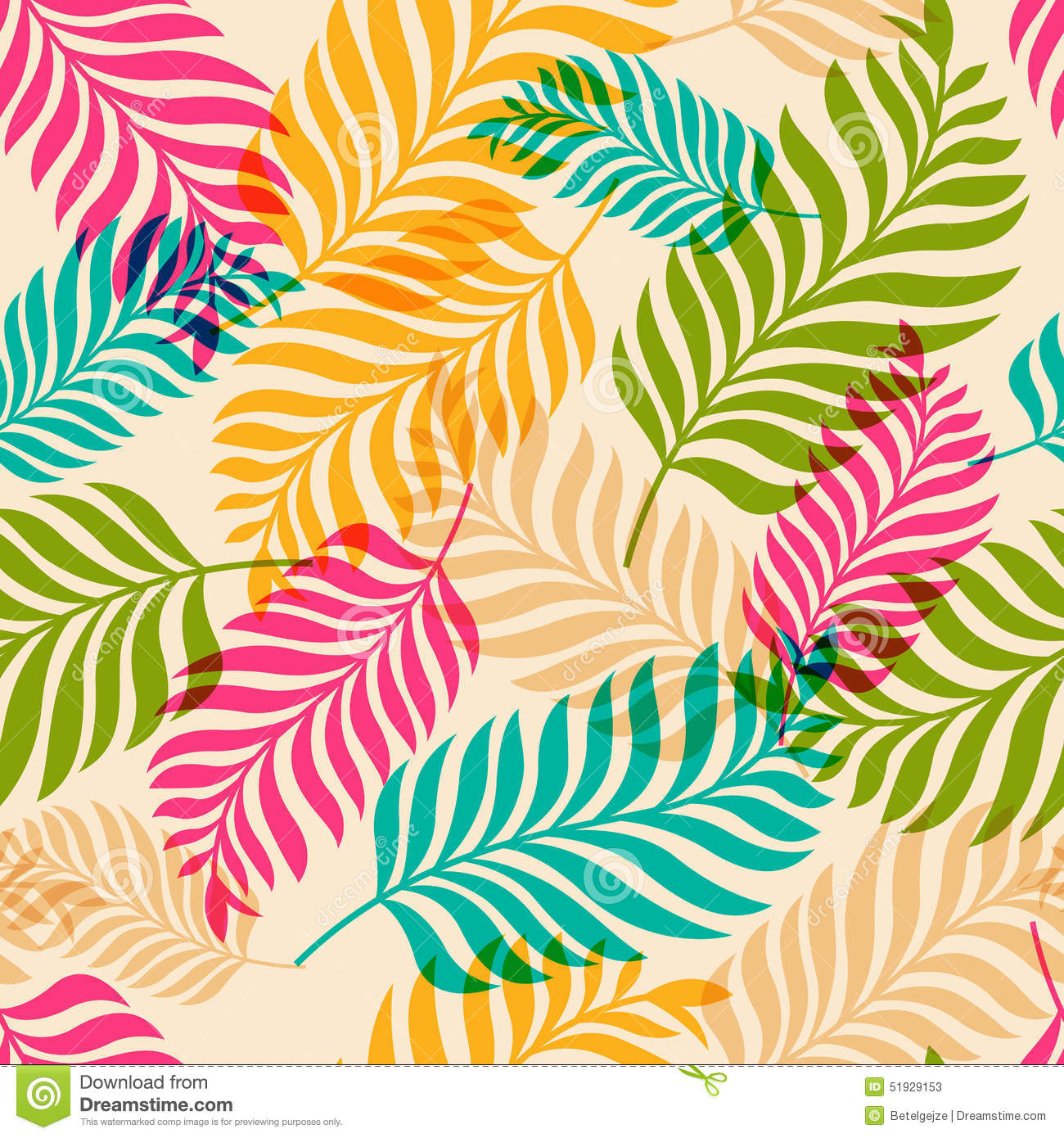 vector seamless pattern of colorful palm tree leaves nature org