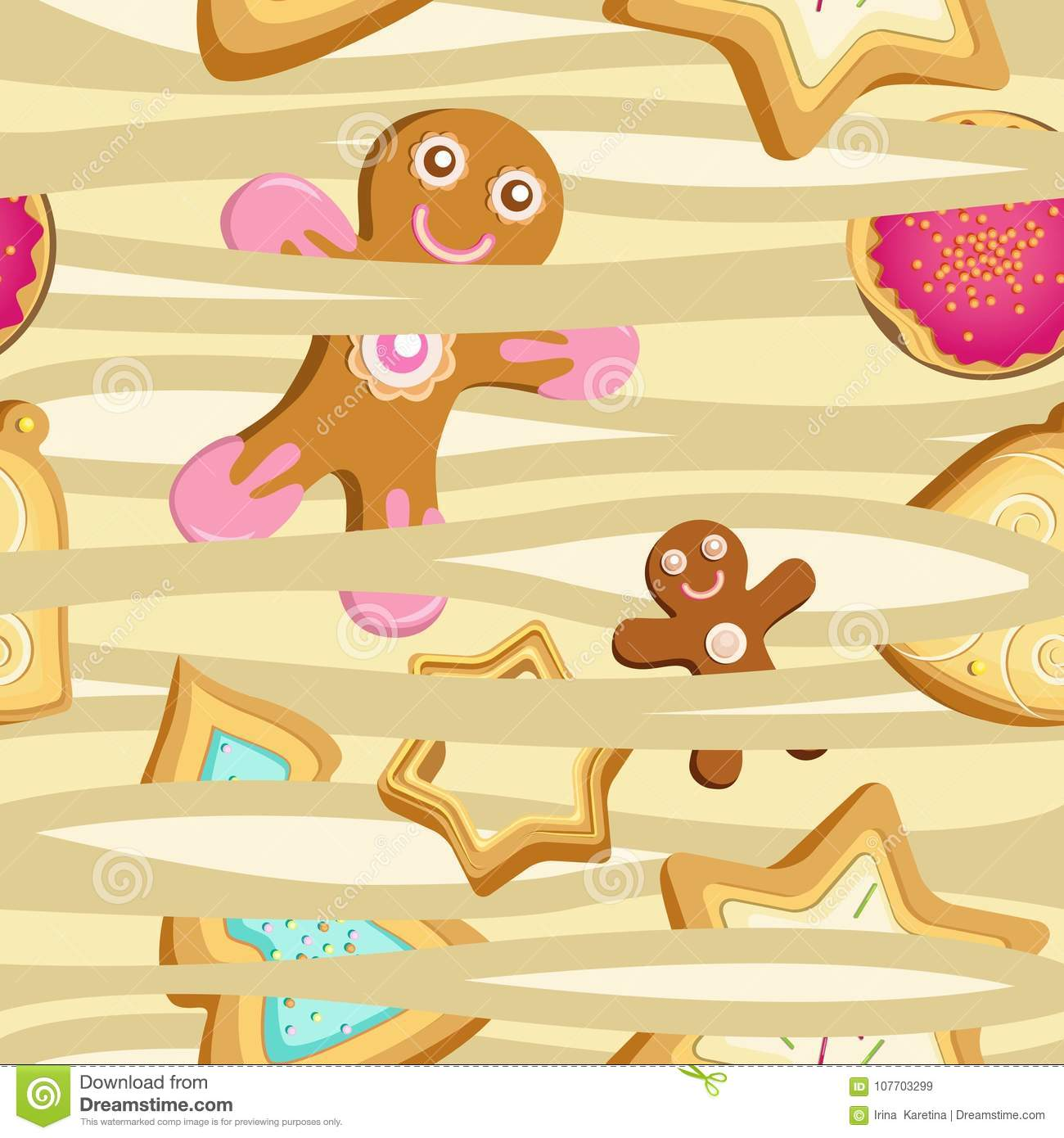 Vector seamless pattern of cookies in the form of Christmas trees, stars and gingerbread men.