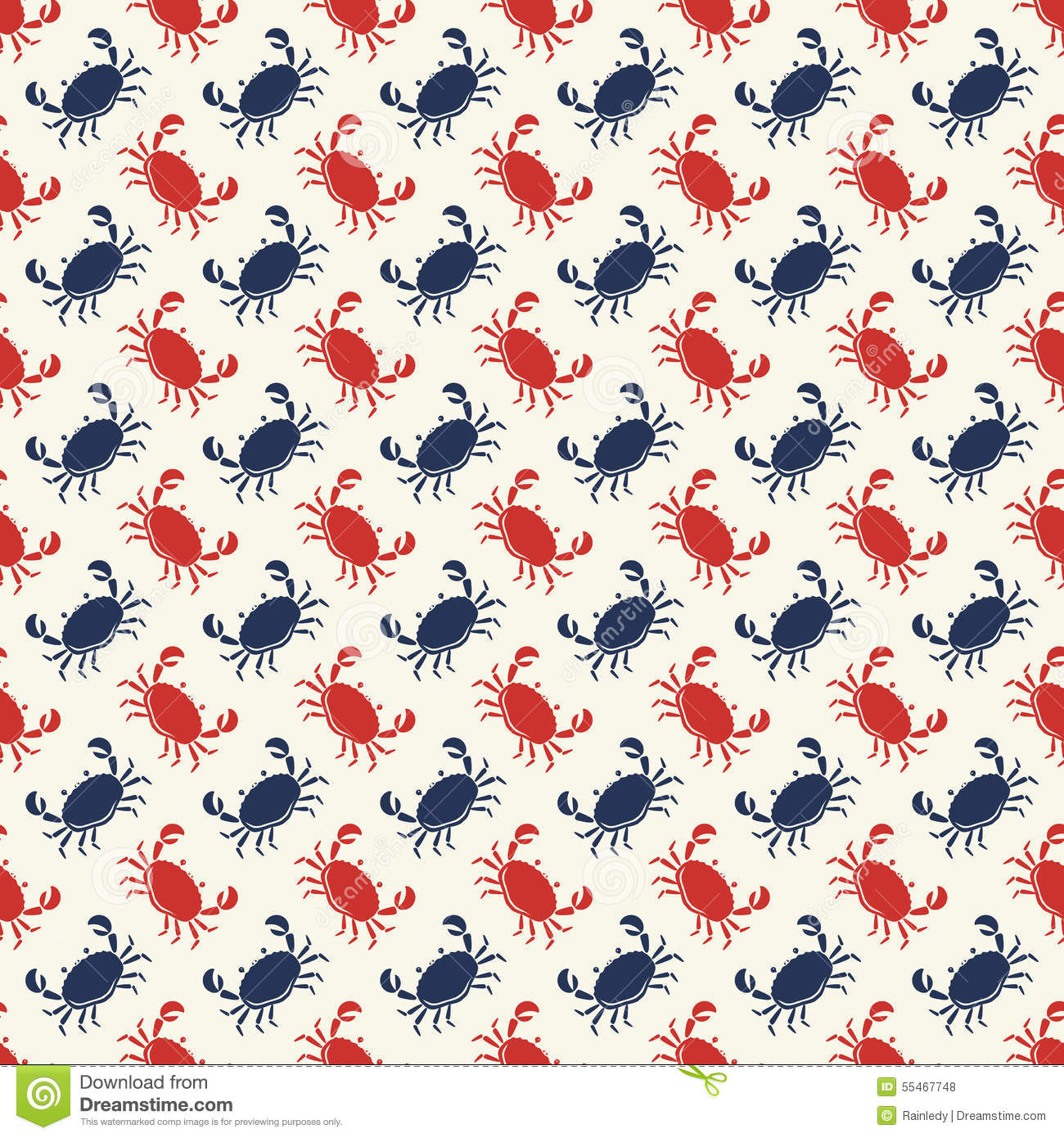Vector seamless pattern with crabs.