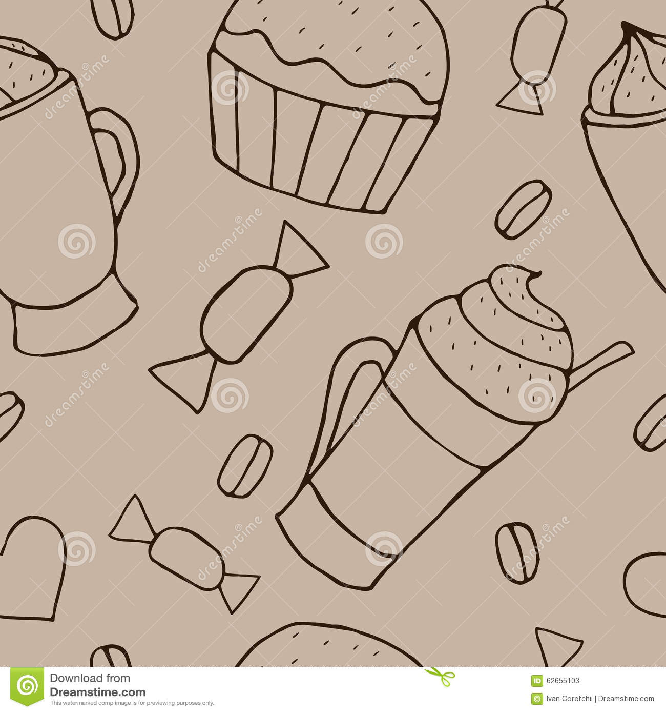seamless doodle coffee pattern - photo #22