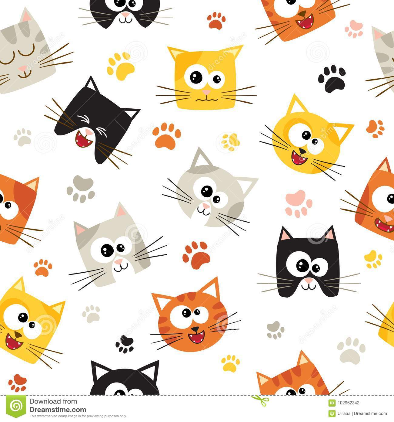 Vector Seamless Pattern With Cute Cartoon Cats Seamless Pattern