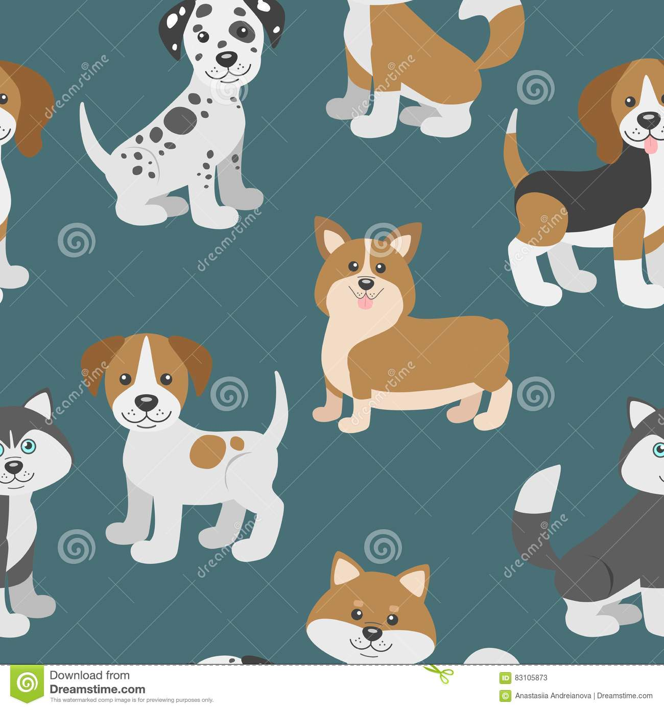 Vector Seamless Pattern With Cute Cartoon Dog Puppies Stock