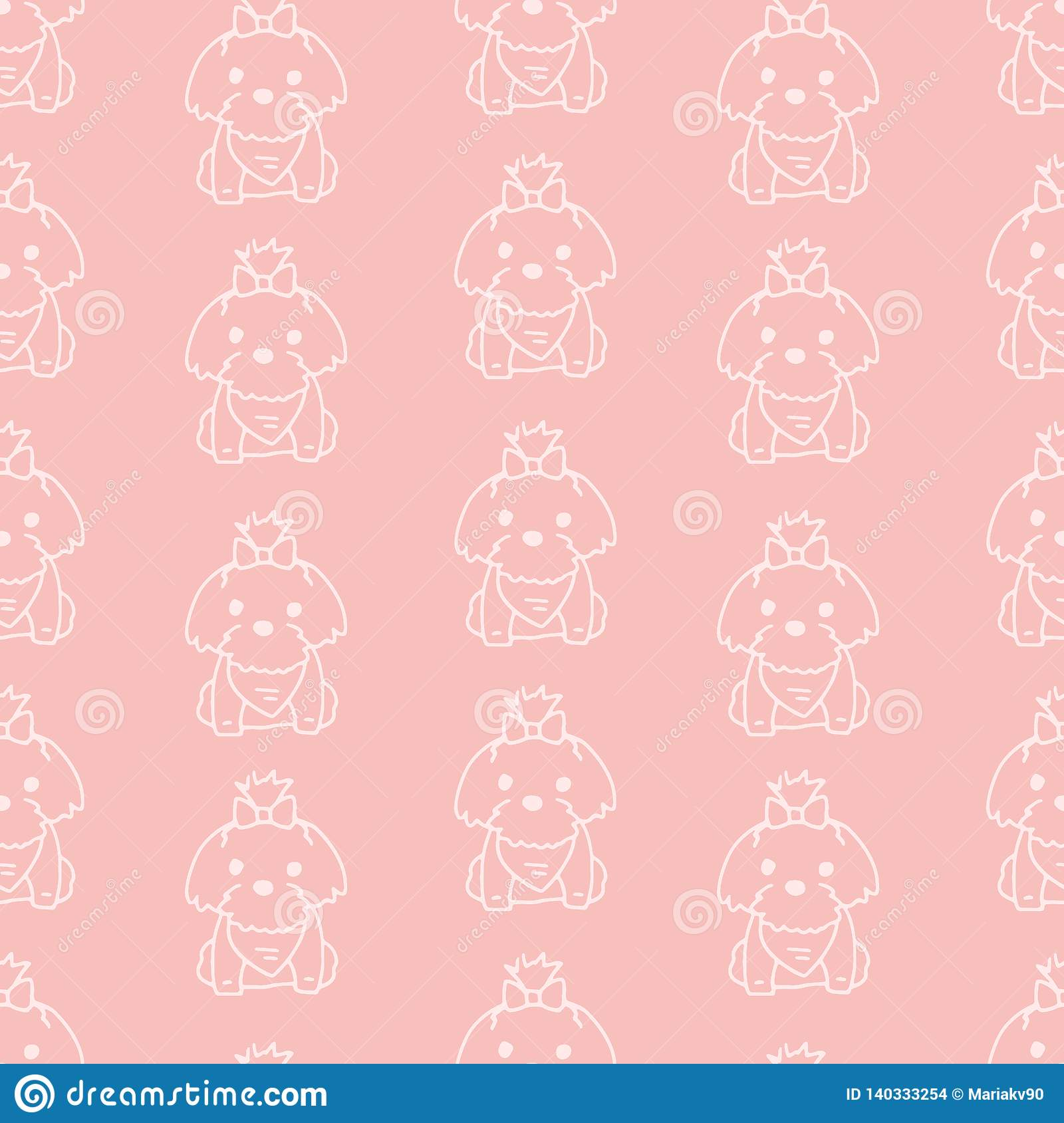 Vector Seamless Pattern With Cute Cartoon Dog Puppies Can Be Used As A Background Wallpaper Fabric And For Other Design Lap Stock Vector Illustration Of Backdrop Fabric 140333254