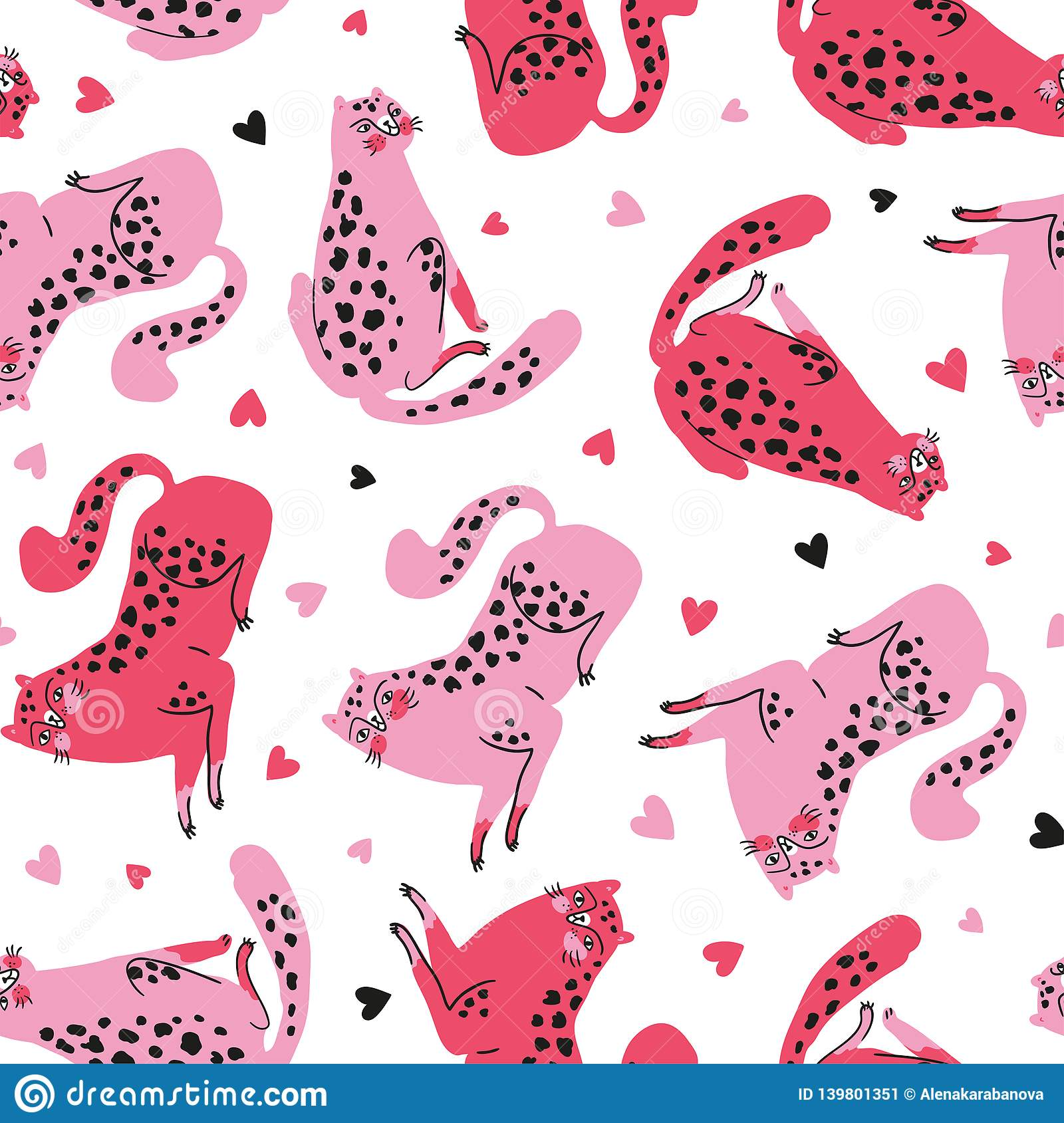 Vector seamless pattern with cute cheetahs with pink hearts. Tropical animals.