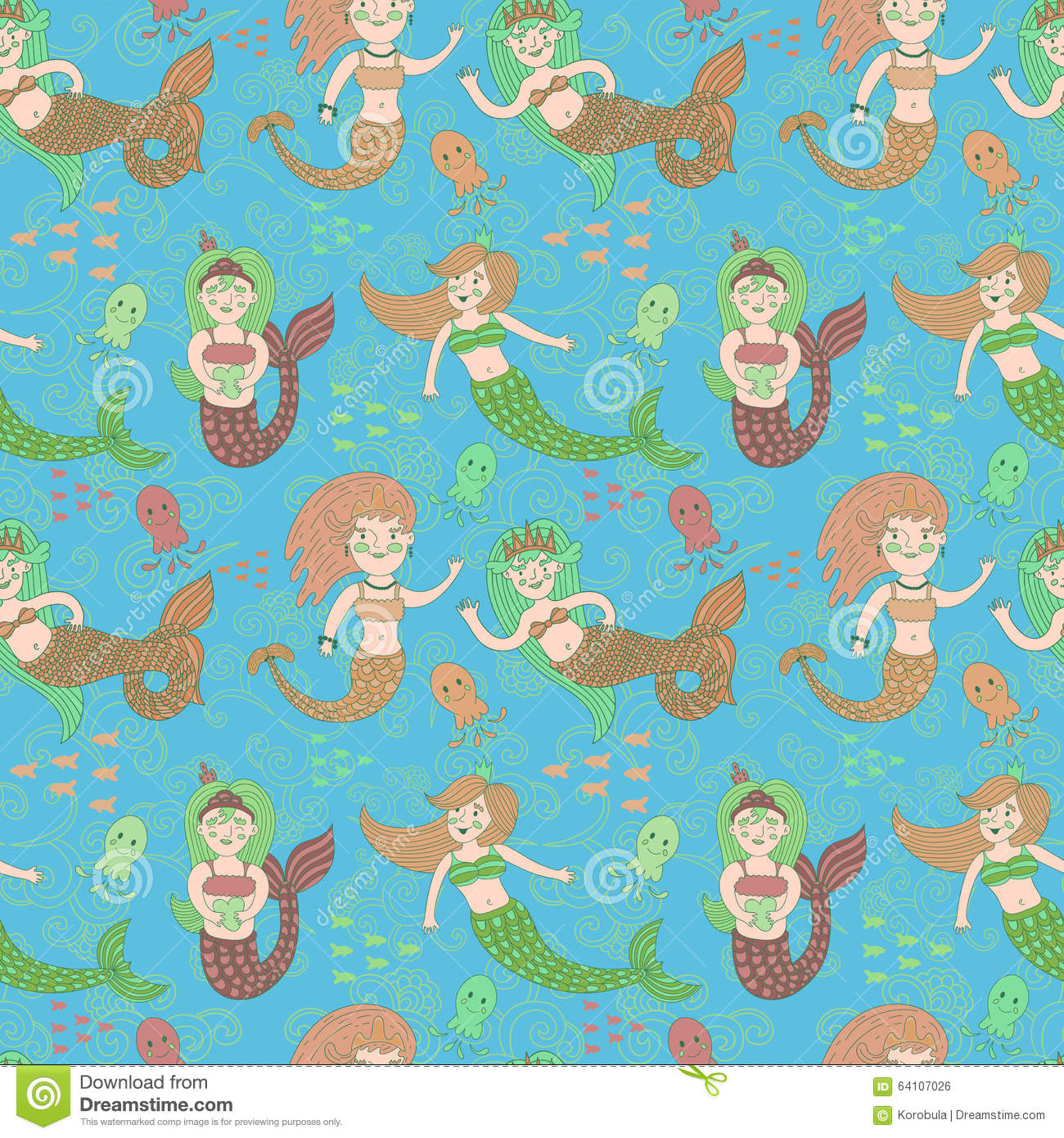 Vector Seamless Pattern With Cute Colorful Mermaids. Stock