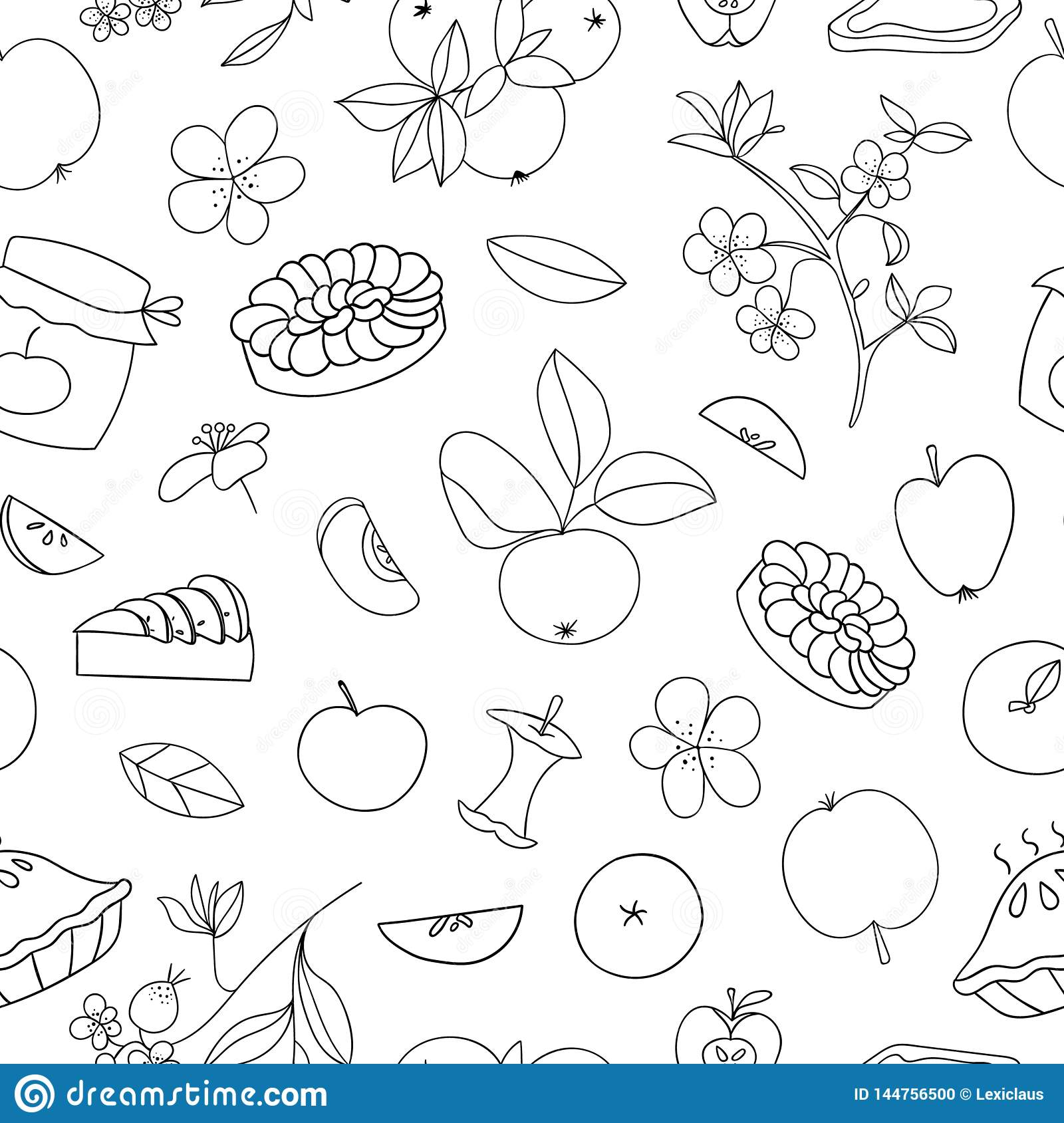 Vector seamless pattern of cute hand-drawn apples, apple pie, flowers, jam jar. Black and white repeat background. Home made food