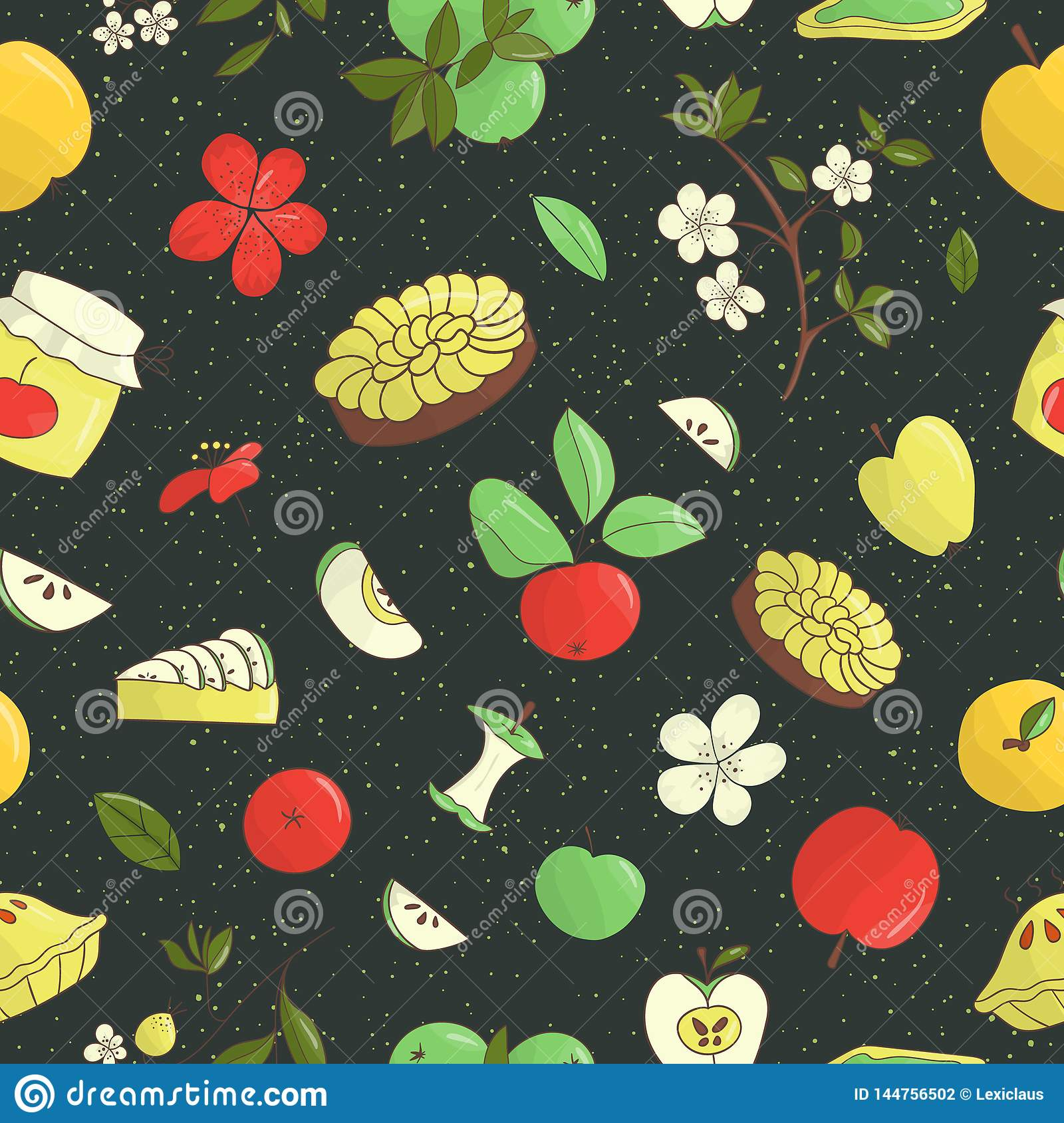 Vector Seamless Pattern Of Cute Hand drawn Apples, Apple Pie ...