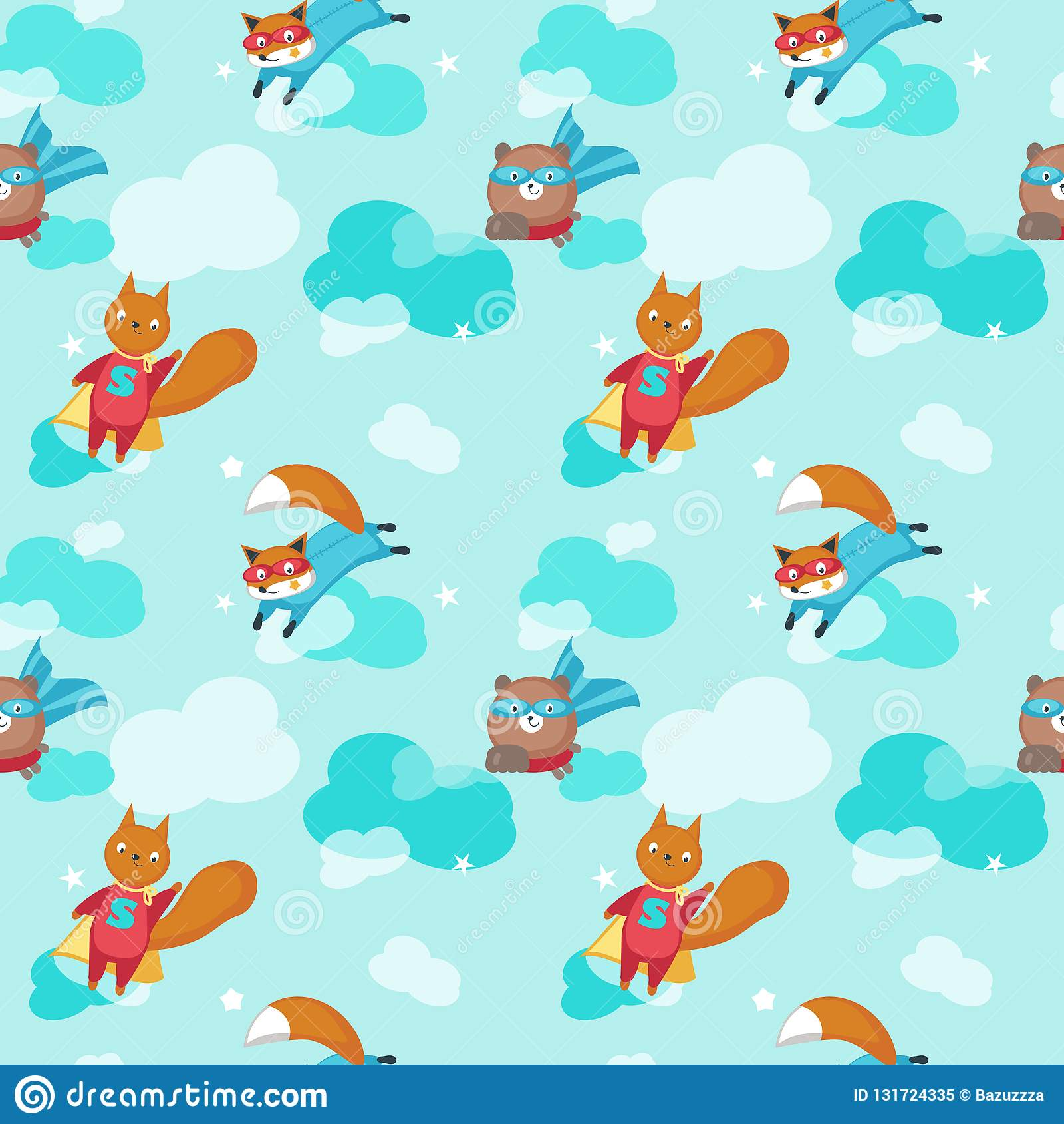 Vector seamless pattern with cute animals bear squirrel and fox flying in sky in super hero costumes superhero animals background wallpaper fabric