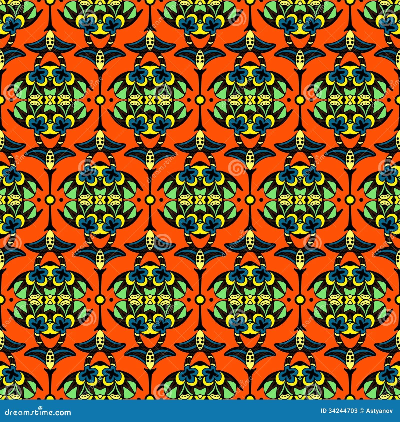 Vector Seamless Pattern Damask Stock Illustration