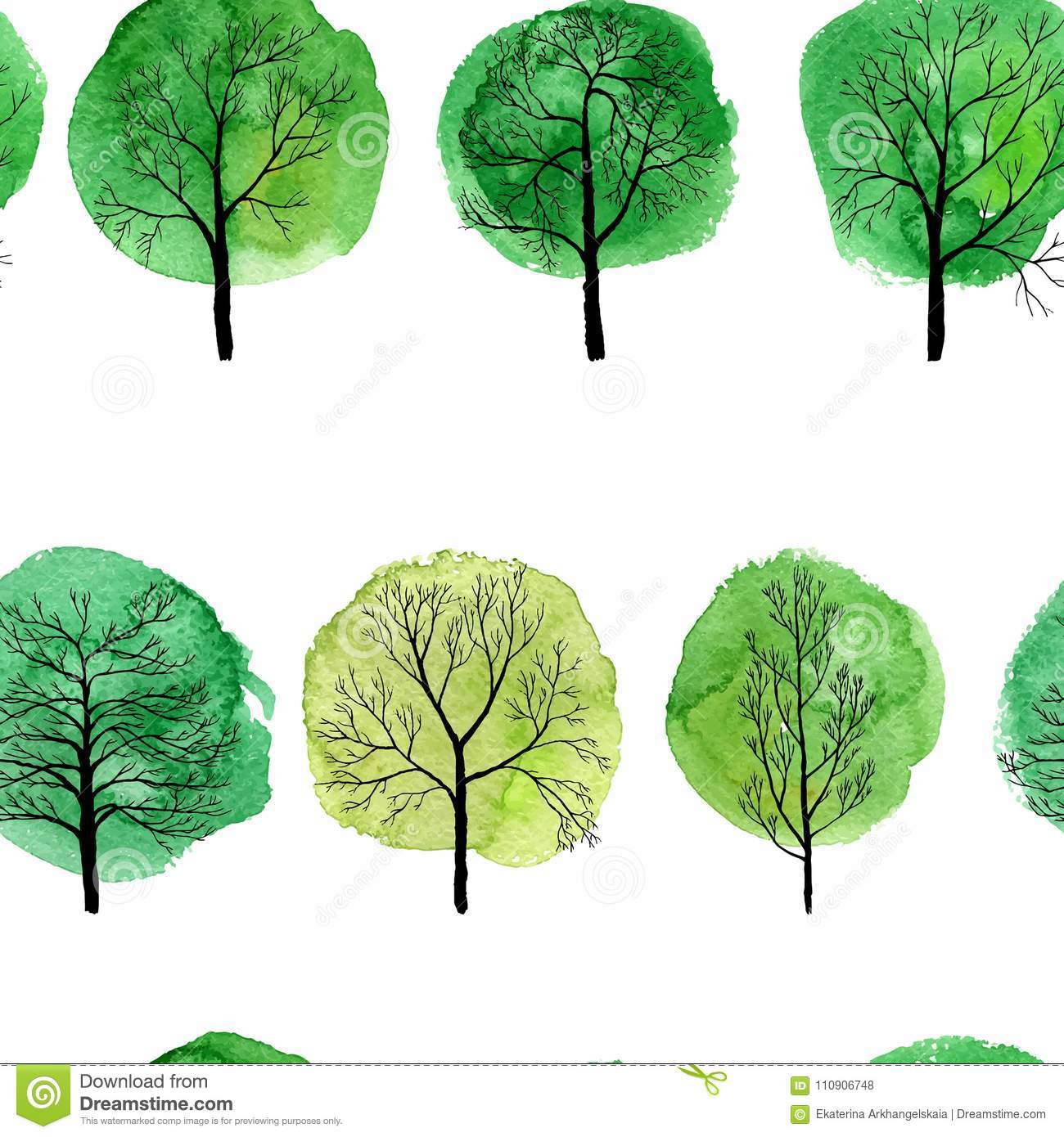 Vector Seamless Pattern With Deciduous Trees Stock Vector ...