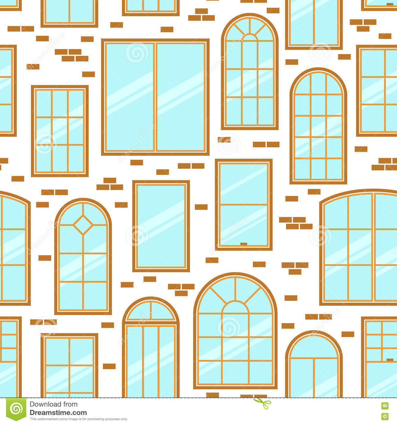 Vector seamless pattern of different types of windows flat for Building window design