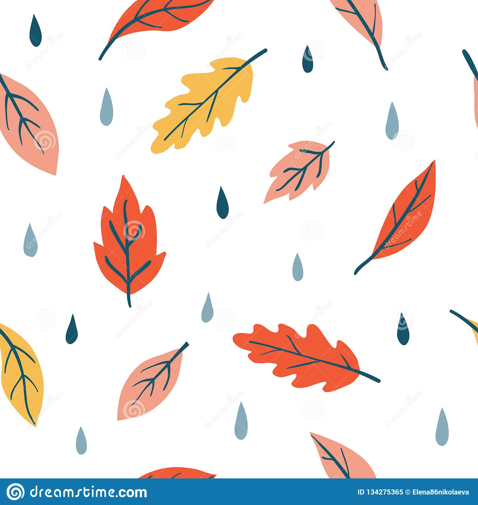 Vector Seamless Pattern With Doodle Fall Leaves Stock Vector Illustration Of Leaves November 134275365