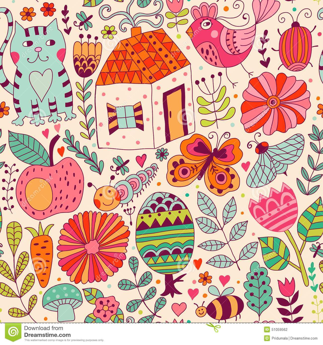 Vector Seamless Pattern Doodling Design Hand Draw Flowers And Leafs Kids Illustration Cute Background Color Doodle