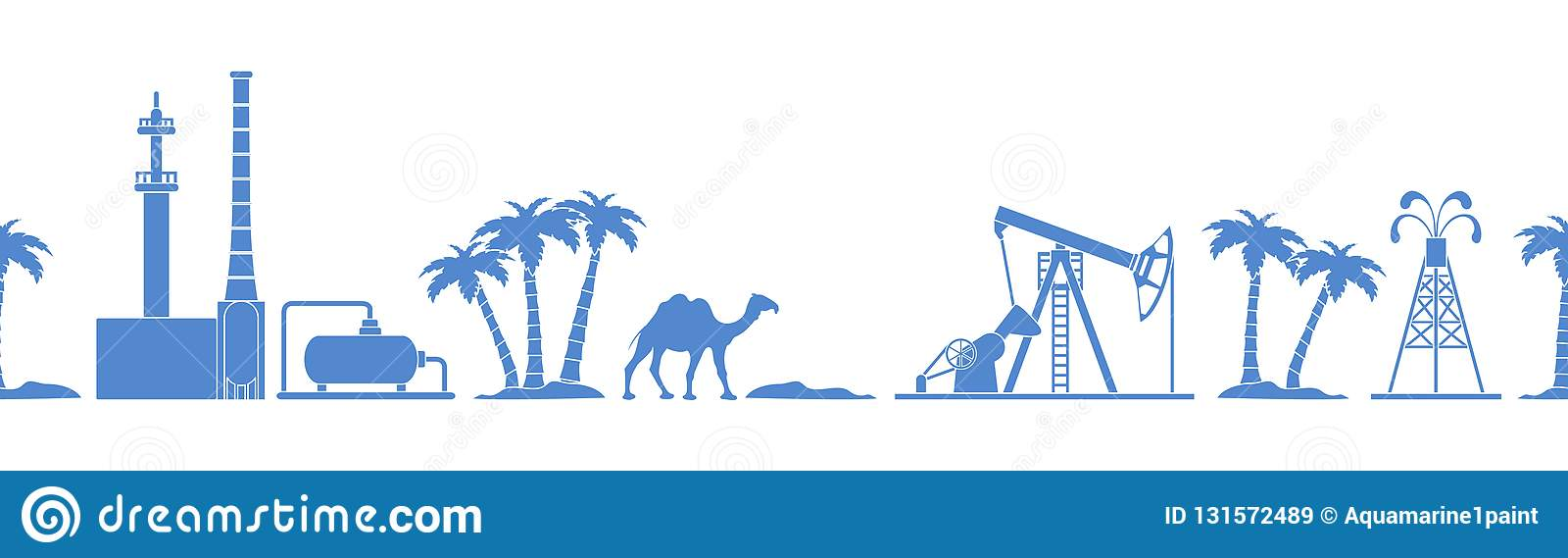 Vector seamless pattern with equipment for oil production, refinery plant, camel, palm trees. Heading or footer banner. Design for