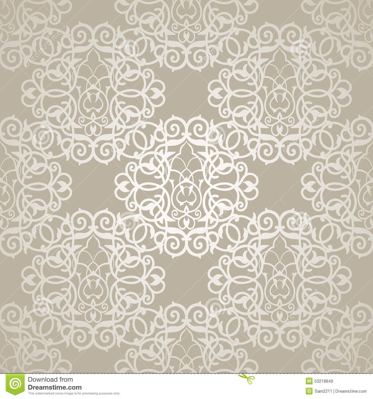 Vector Seamless Pattern With Filigree Ornament Oriental Damask