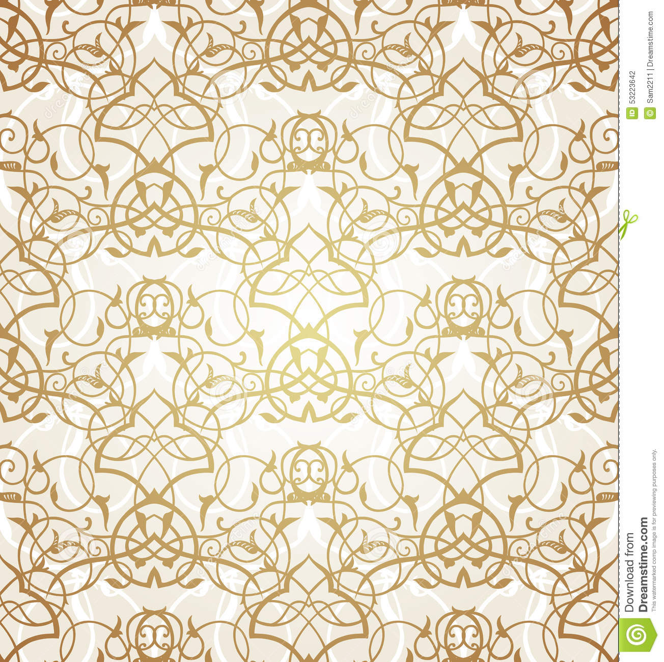 Vector Seamless Pattern With Filigree Ornament Bright Morocco
