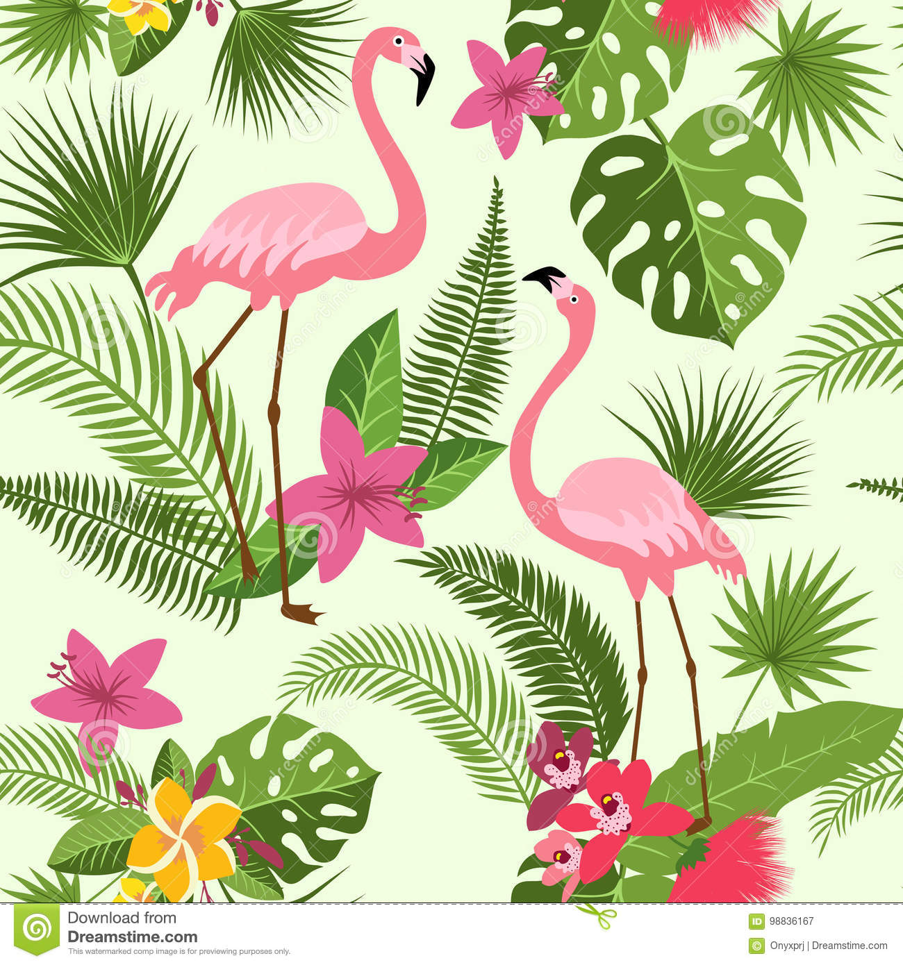 Vector seamless pattern with flamingo tropical flowers and palm vector seamless pattern with flamingo tropical flowers and palm tree summer hawaiian background izmirmasajfo
