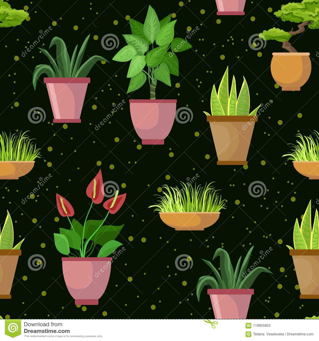 Vector seamless pattern with flower pots and houseplants decorative vector seamless pattern with flower pots and houseplants decorative set dark background mightylinksfo