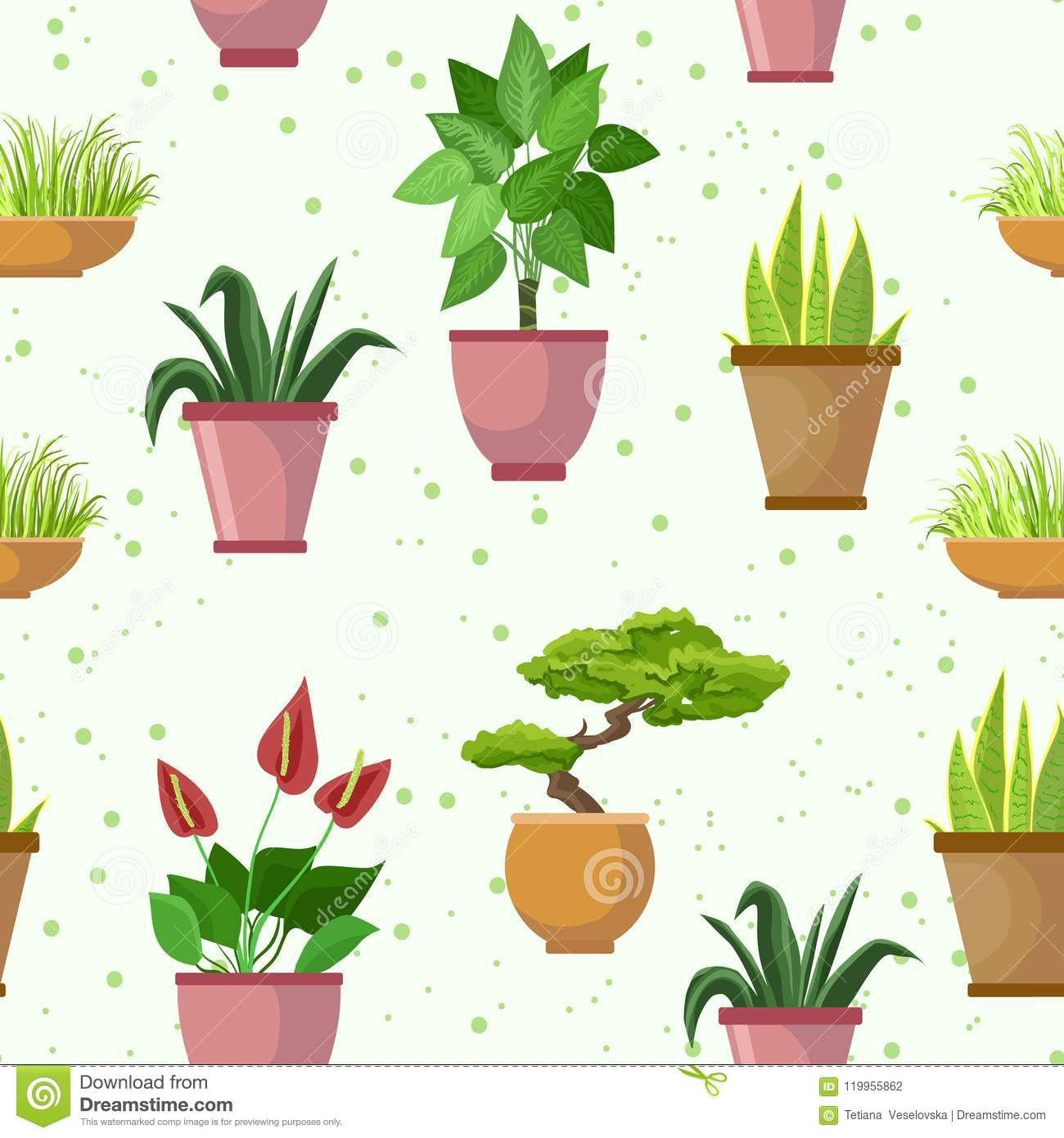Vector seamless pattern with flower pots and houseplants decorative vector seamless pattern with flower pots and houseplants decorative set light background mightylinksfo