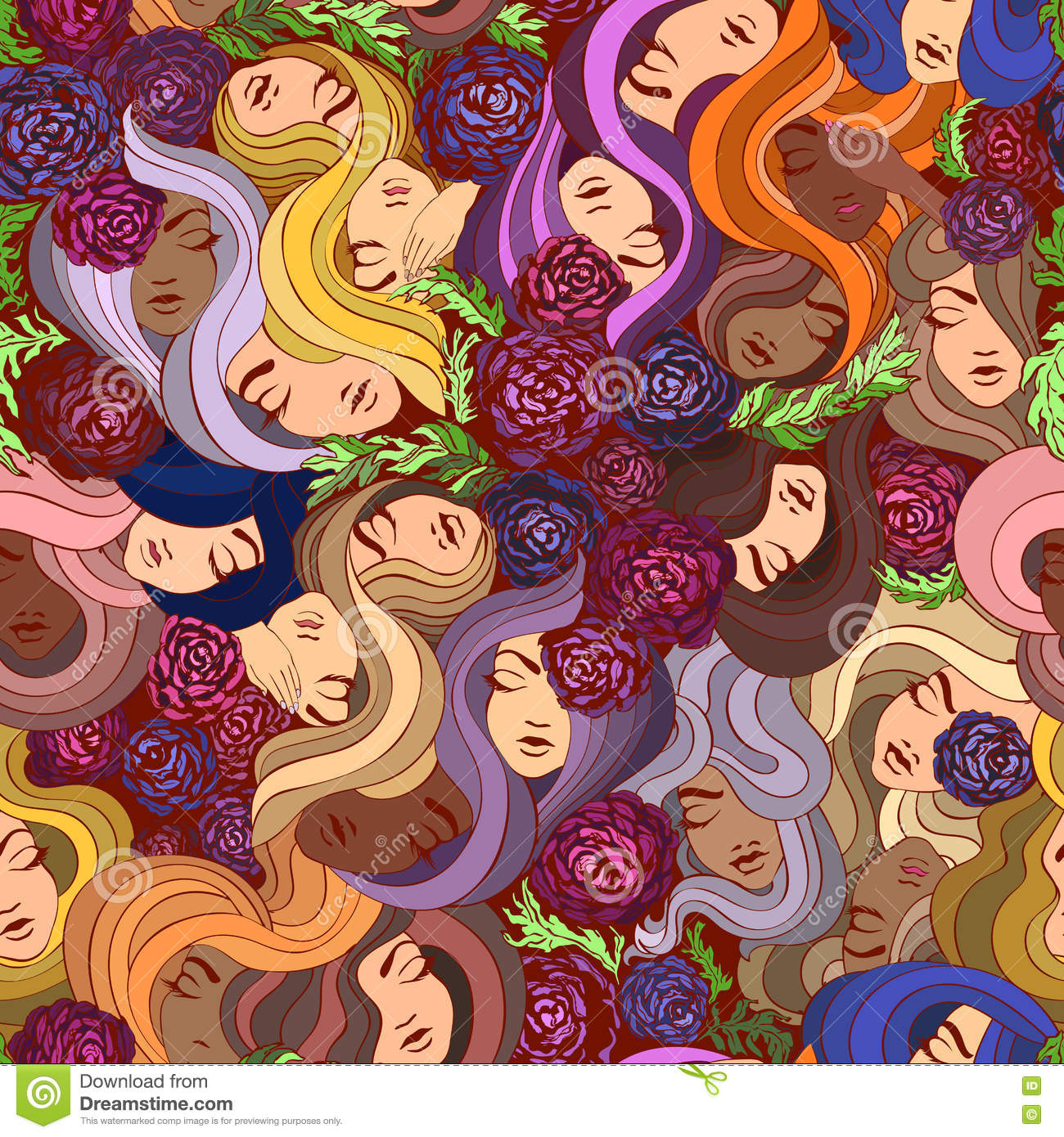 Vector seamless pattern with flowers and women