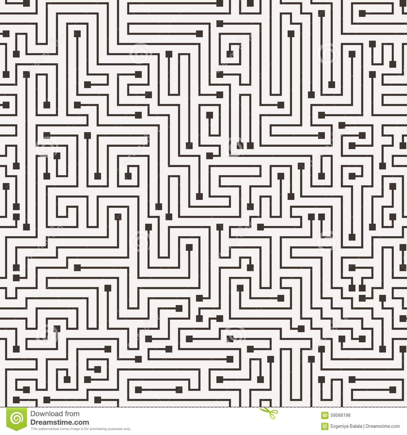 Vector Seamless Pattern In The Form Of A Labyrinth Stock