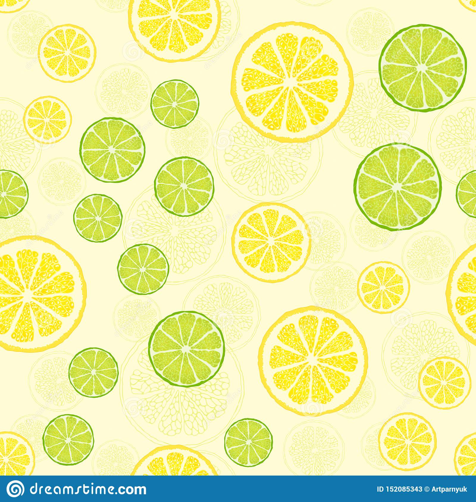 Vector seamless pattern with fruit slices.