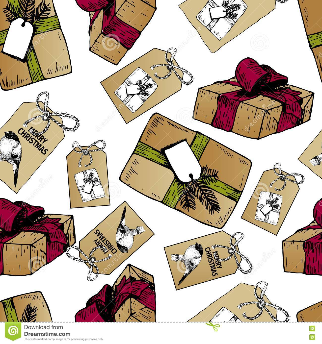 Vector Seamless Pattern Of Gift Boxes And Badges For