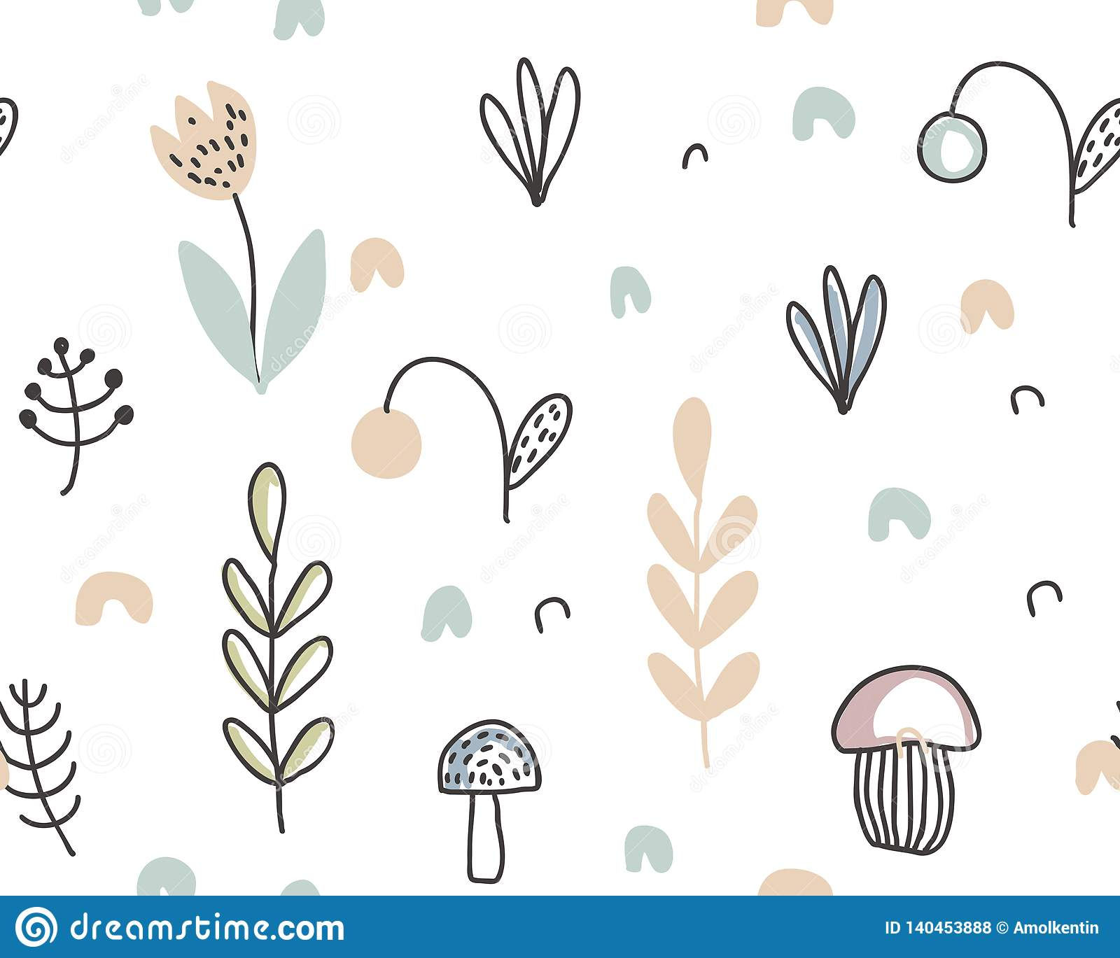 Vector seamless pattern with hand drawn berries, plants, flowers, mushrooms.