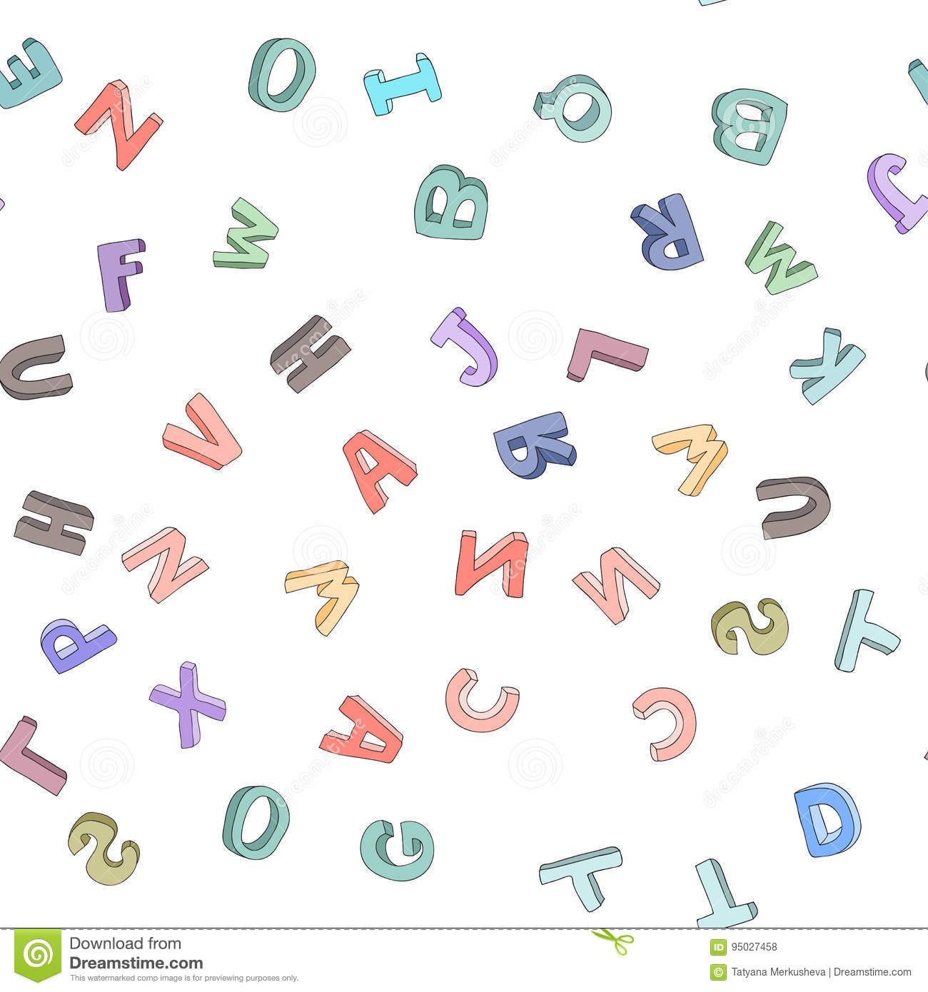 Vector seamless pattern of hand-drawn children`s alphabet. 3D doodle letters. ABC font background for kids.