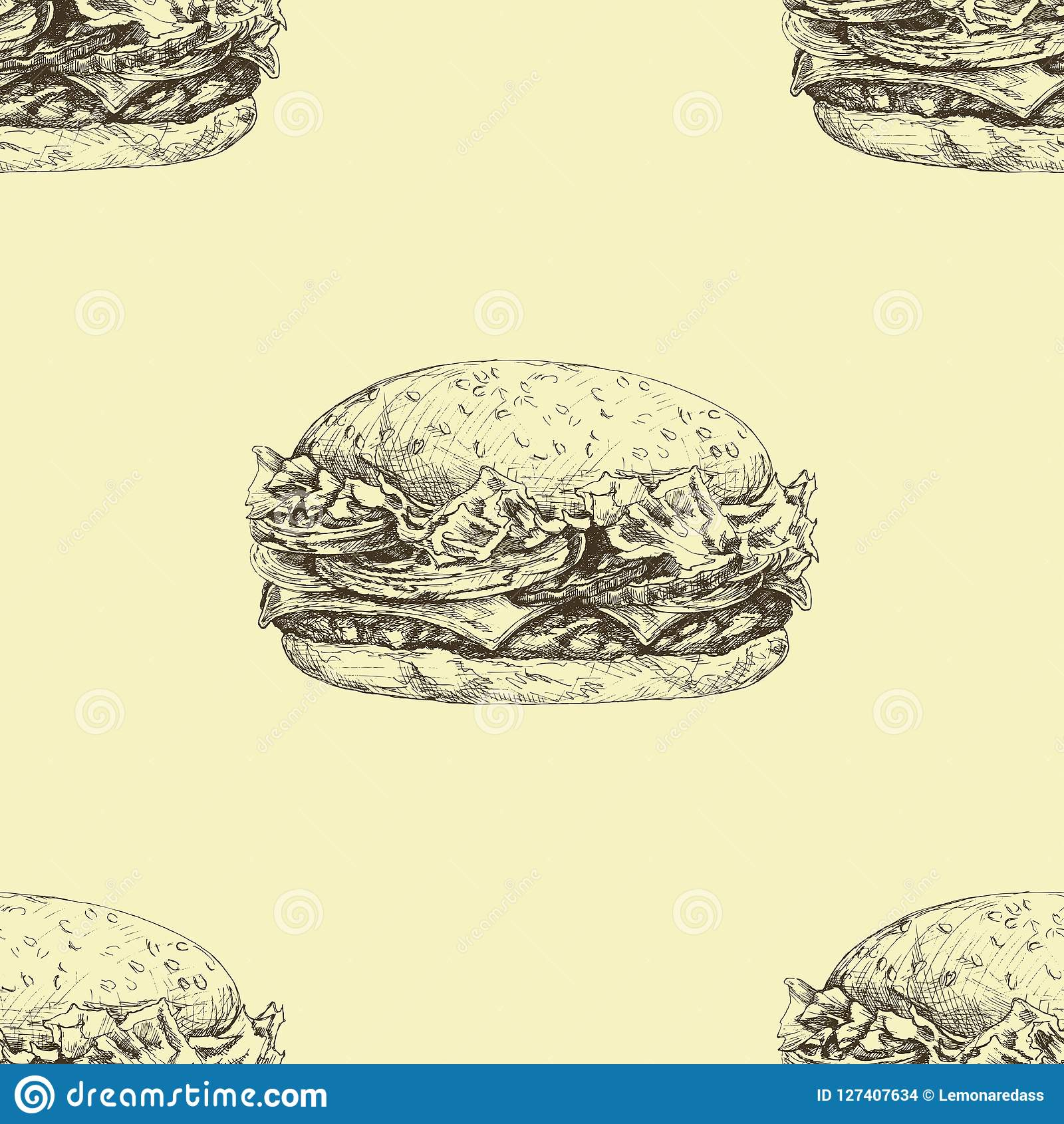 Vector seamless pattern with hand drawn delicious burgers