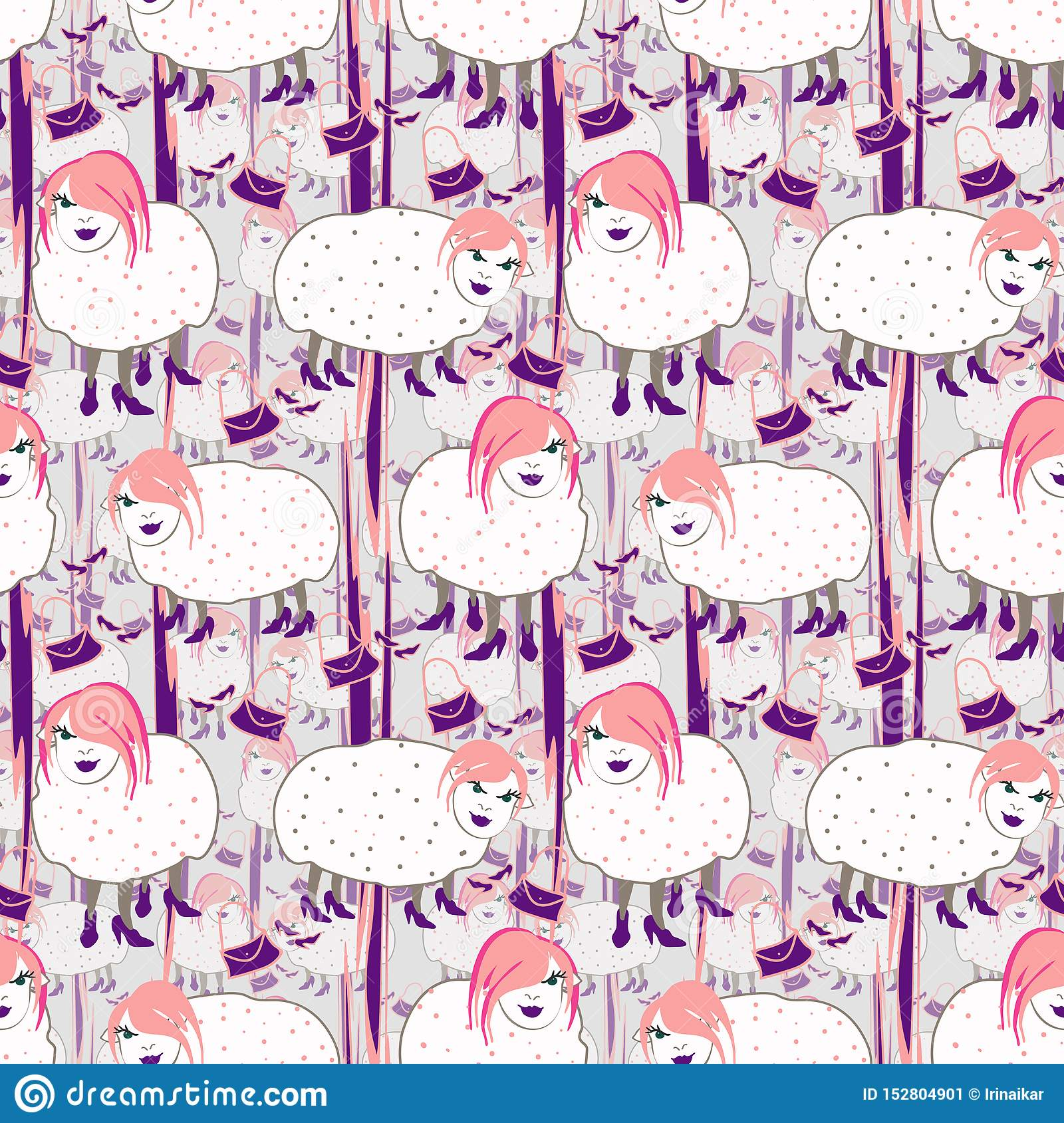 Hand drawn fashionista sheeps with pink hair on gray background