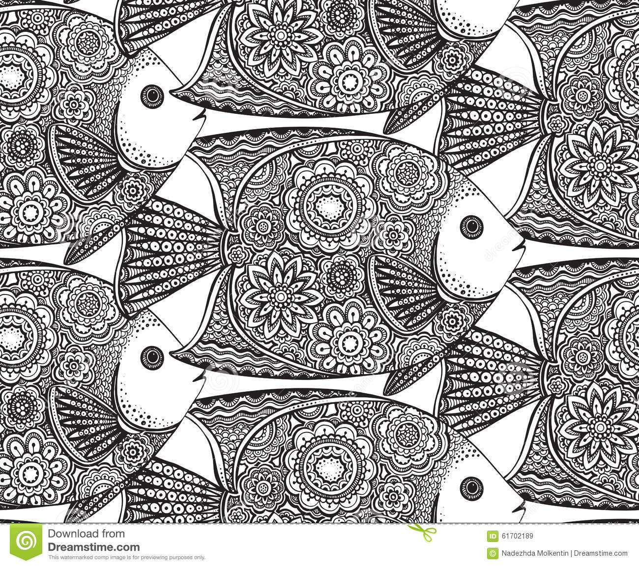 Vector Seamless Pattern With Hand Drawn Fish Stock Vector