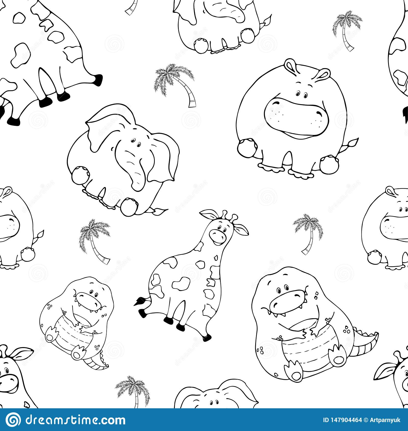 Vector seamless pattern with hand-drawn funny cute fat animals. Silhouettes of animals on a white background. Fun texture with