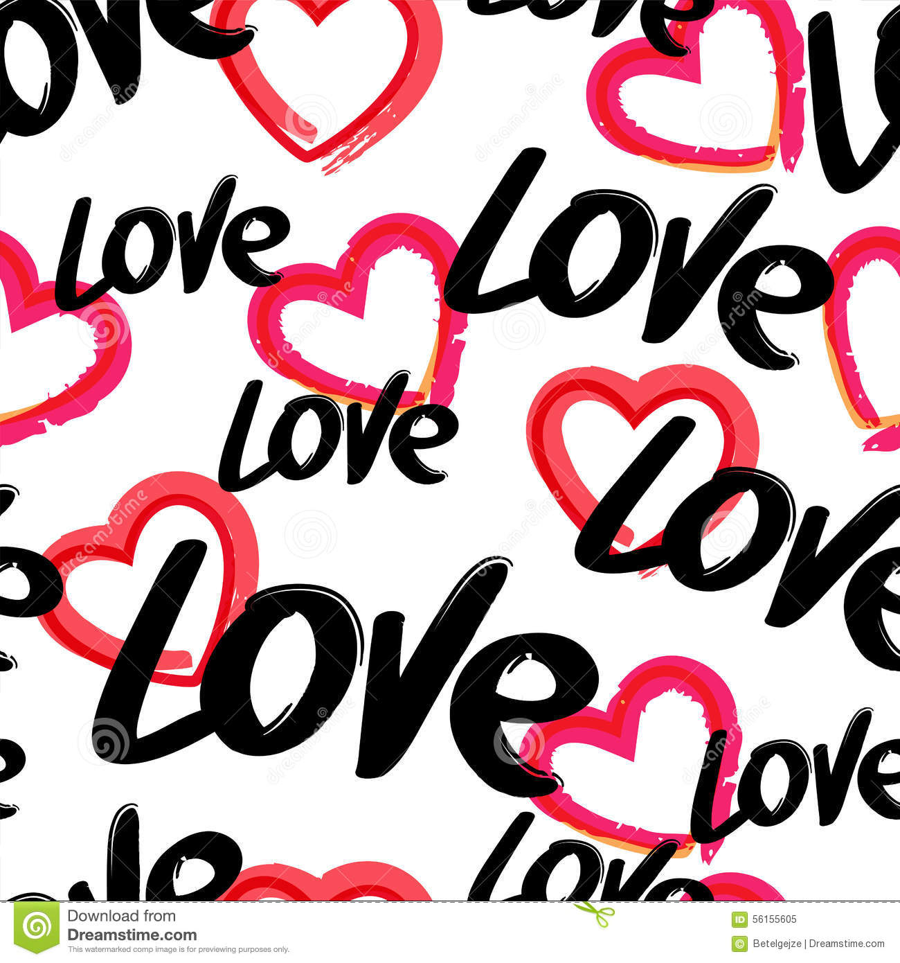 vector seamless pattern with hand drawn word love and red heart