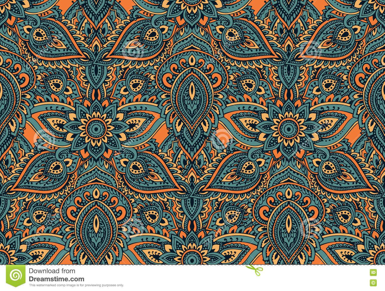 Henna Mehndi Returns : Vector arabic seamless pattern with floral elements