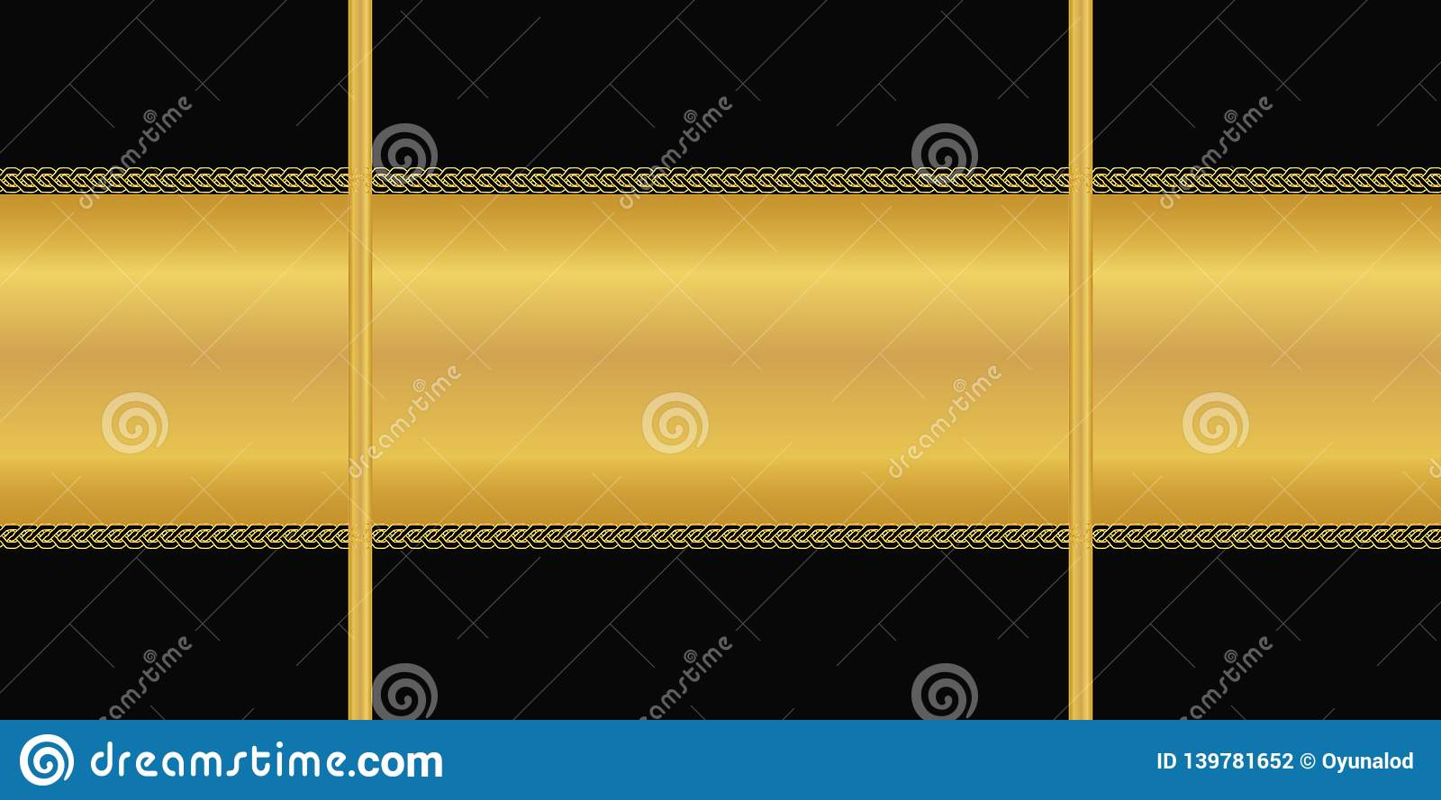 Vector seamless pattern. Horizontal golden stripe, Art deco ornament on black background. Wallpaper, wrapping paper, textile print