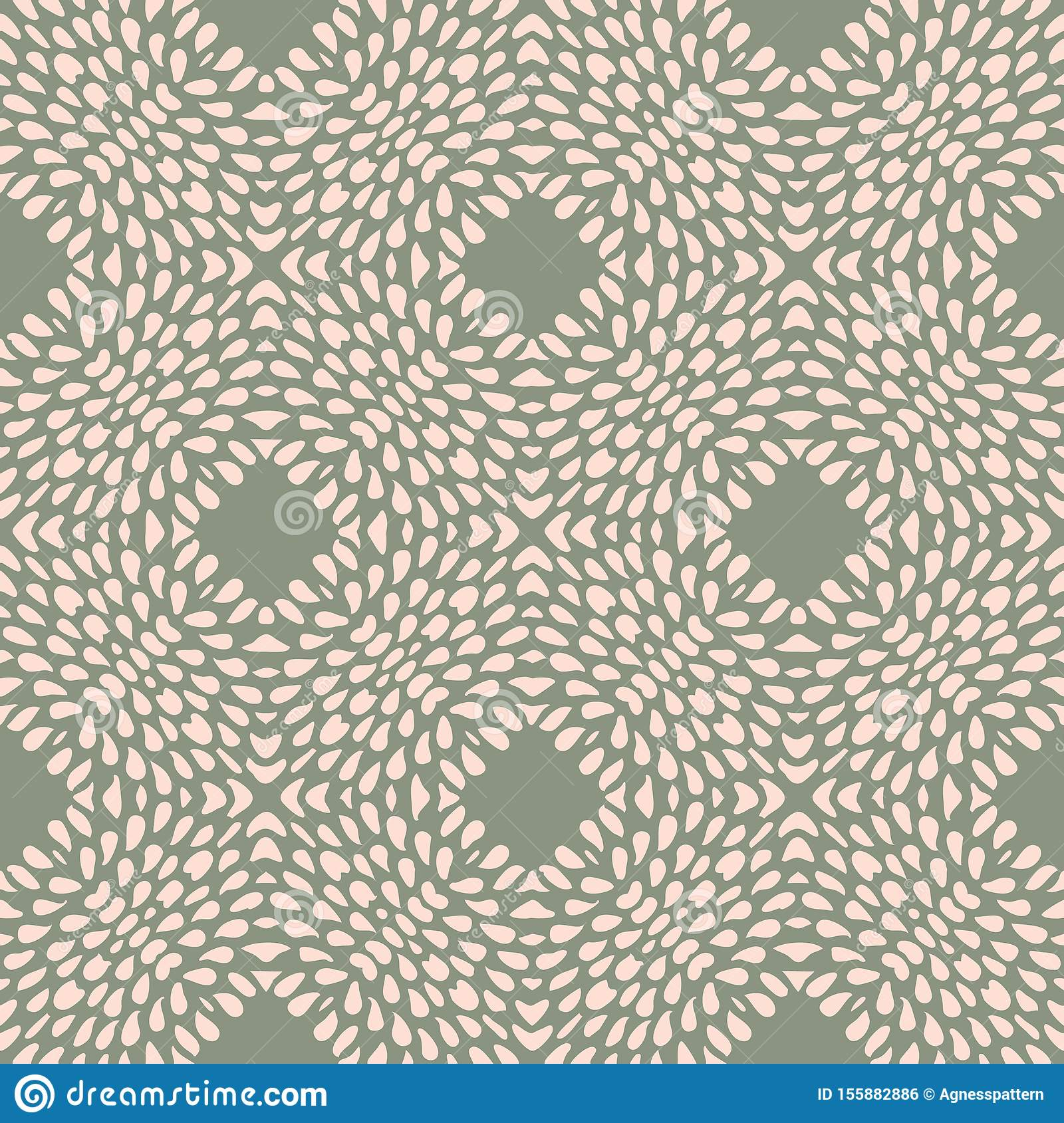 Vector Seamless Pattern With Irregular Dots Texture In Geometric Layout. Ethnic Pink And Olive