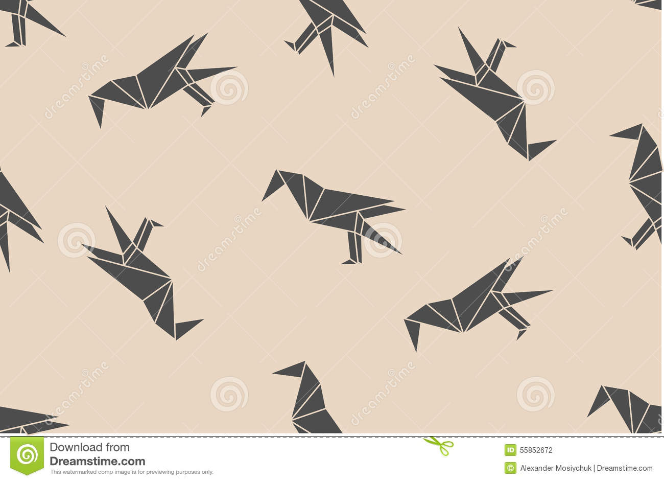 Vector Seamless Pattern With Japanese Origami Black Linear Raven Birds Silhouettes Stock Illustration Illustration Of Linear Design 55852672
