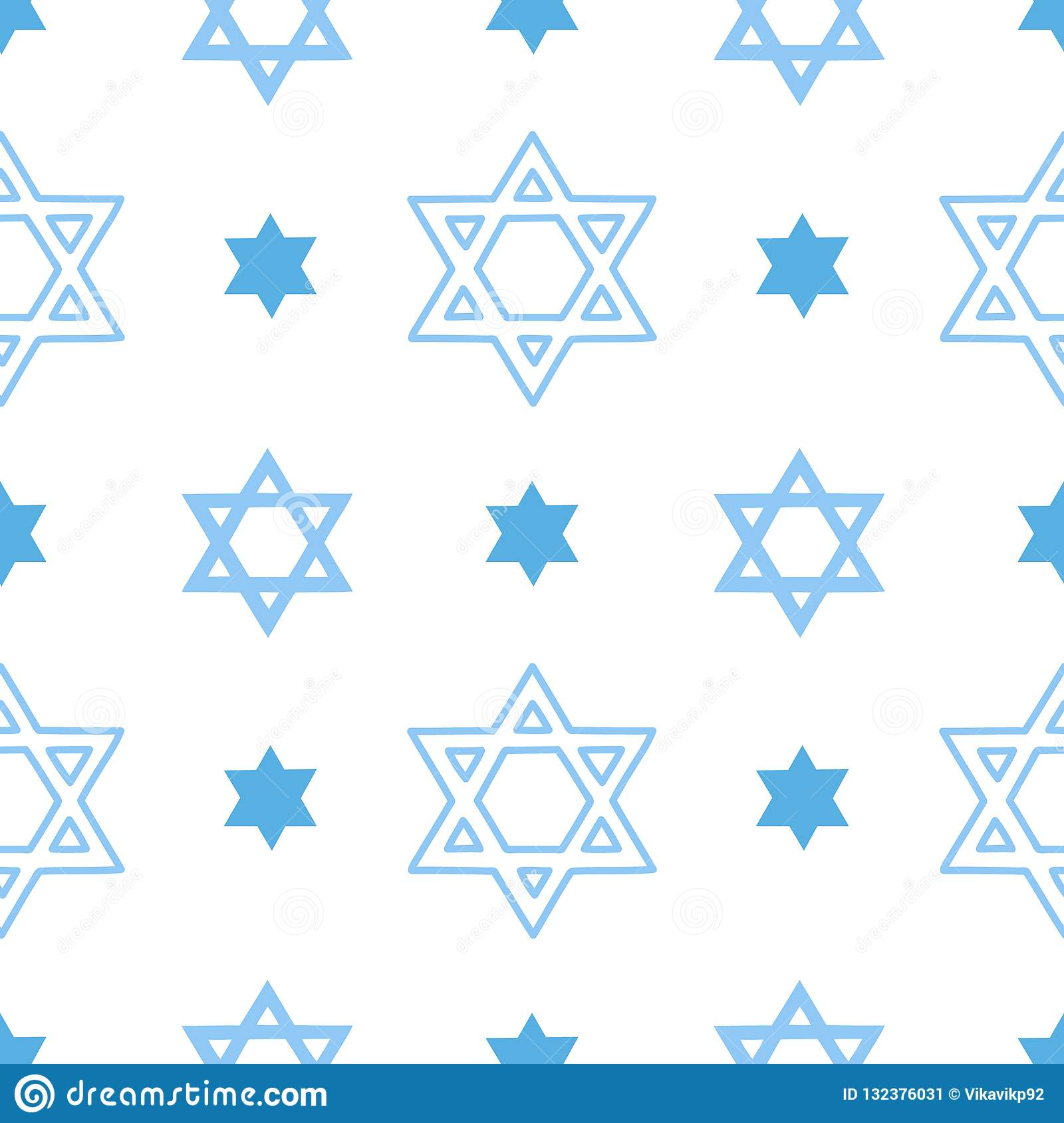 Vector seamless pattern with the jewish Star of David